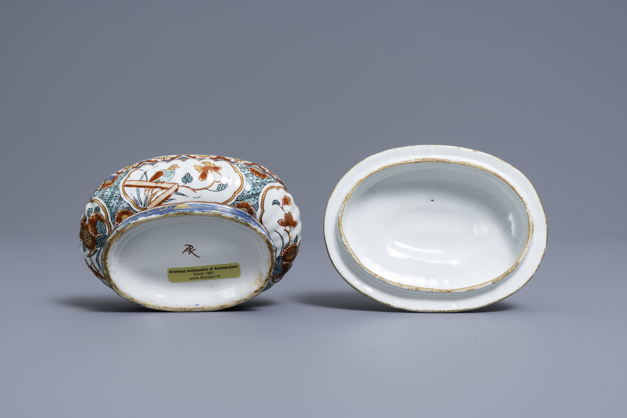 A polychrome and gilded Dutch Delft spice box and cover, early 18th C. - Image 7 of 7