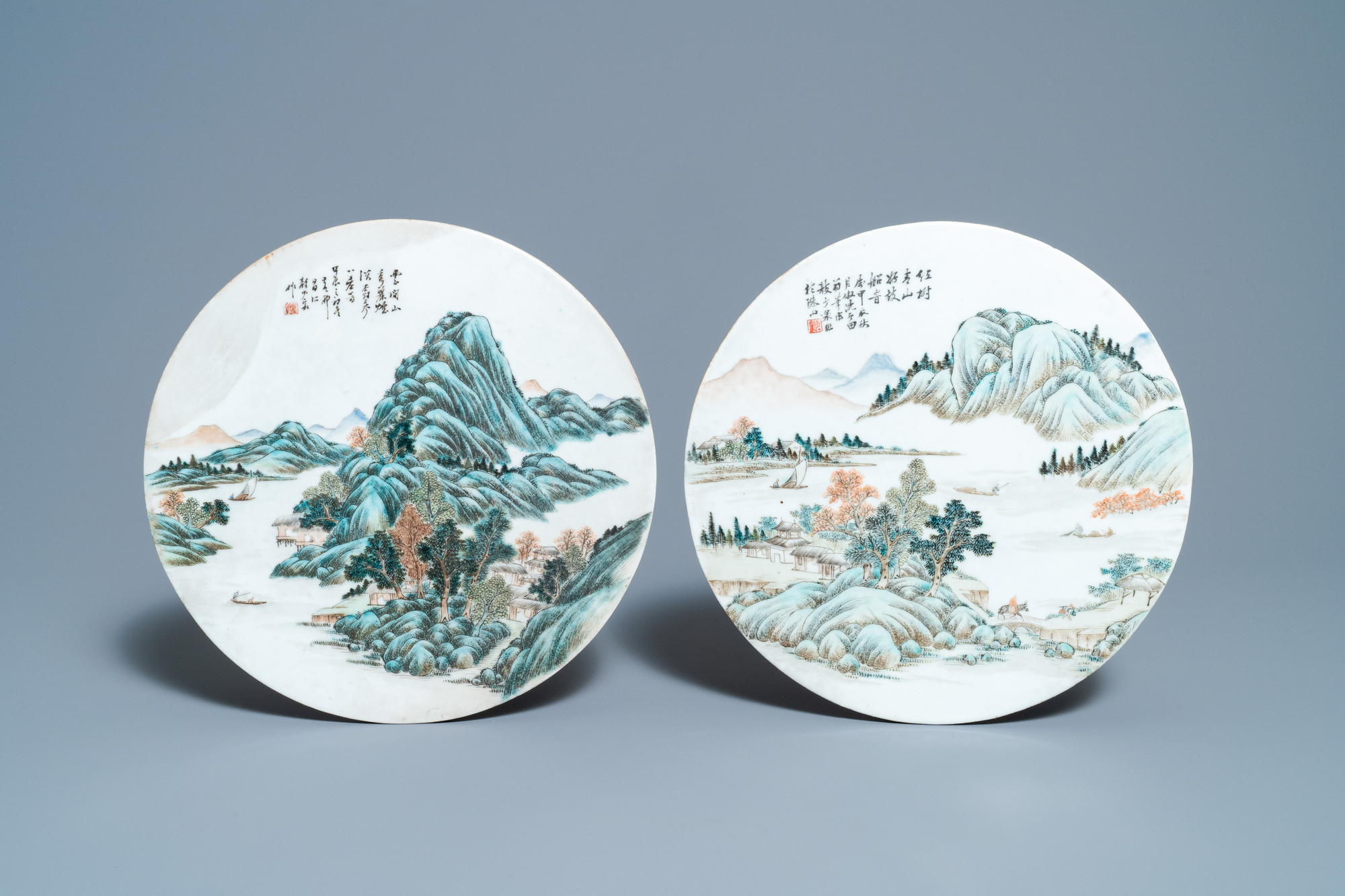 Two round Chinese qianjiang cai 'landscape' plaques, signed Ao Shaoquan and dated 1904 - Image 2 of 3