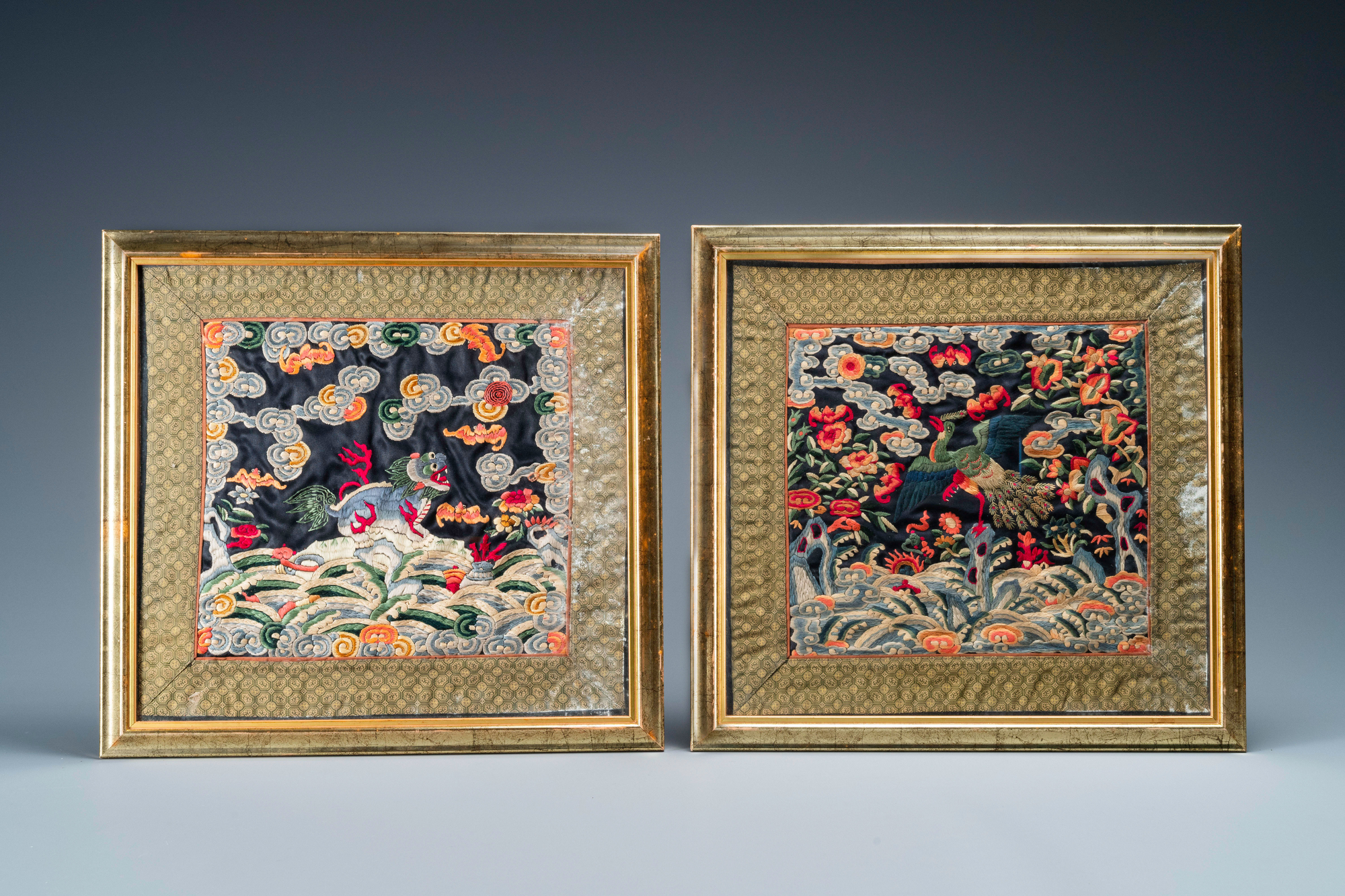 Seven Chinese embroidered silk rank badges, 19/20th C. - Image 4 of 5