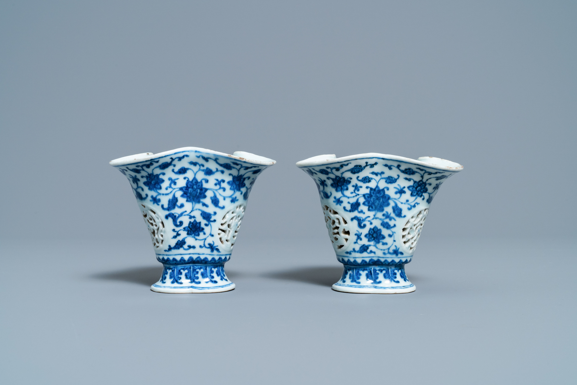 A pair of rare Chinese blue and white double-walled reticulated trilobed libation cups, Qianlong - Image 3 of 13