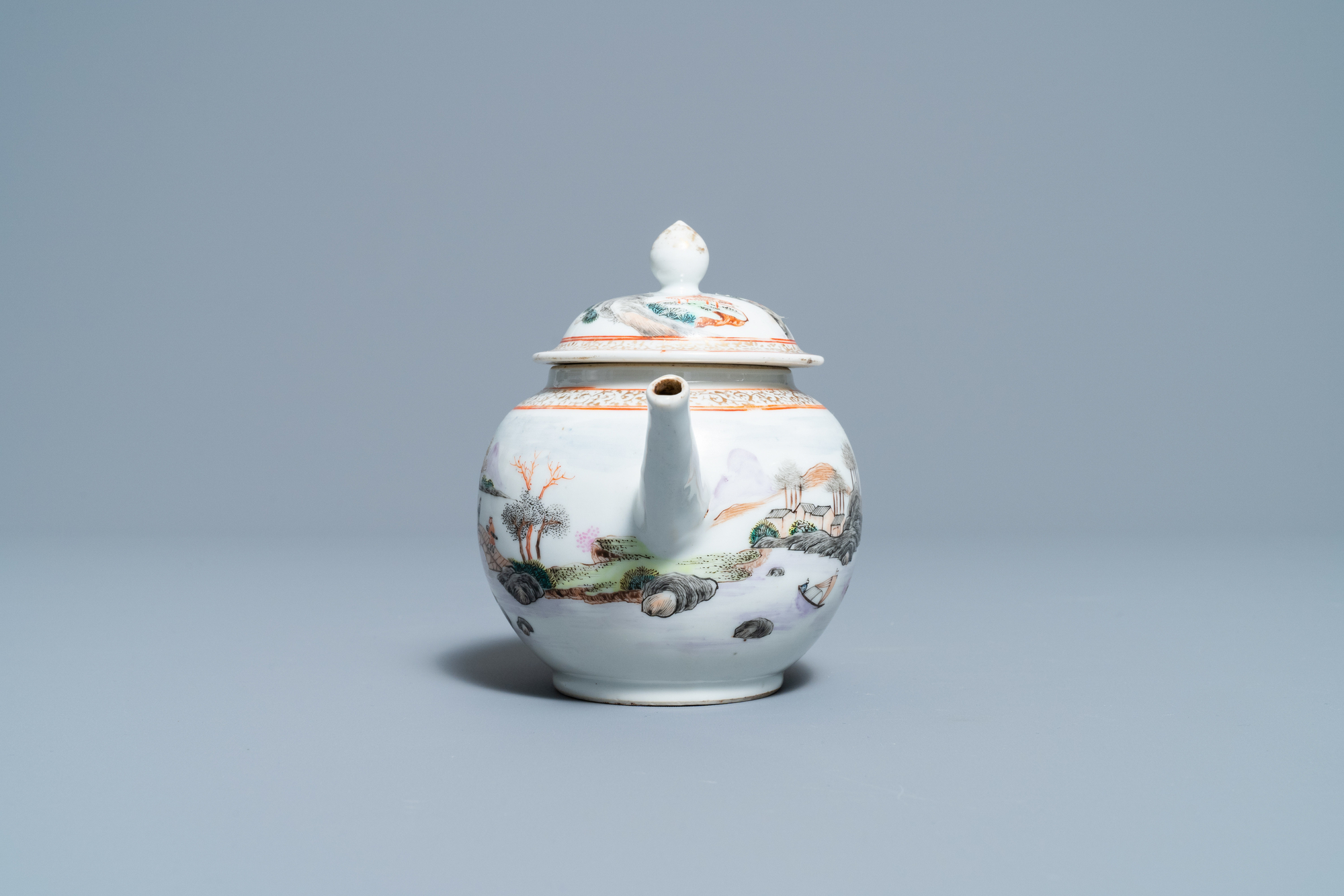 A fine Chinese 'landscape' teapot and a pair of cups and saucers, Yongzheng - Image 13 of 15