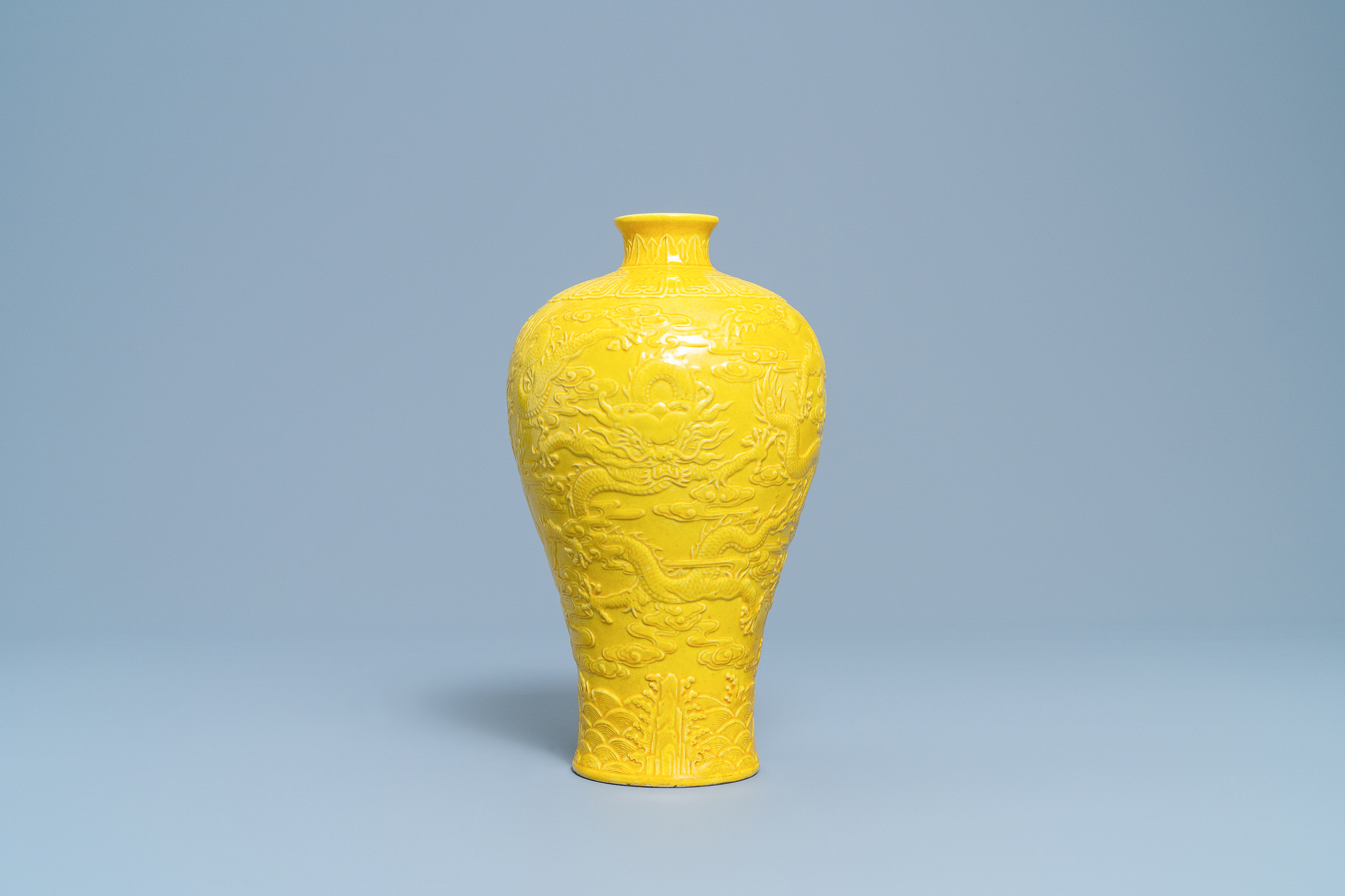 A Chinese relief-molded monochrome yellow meiping 'dragon' vase, Republic - Image 3 of 6