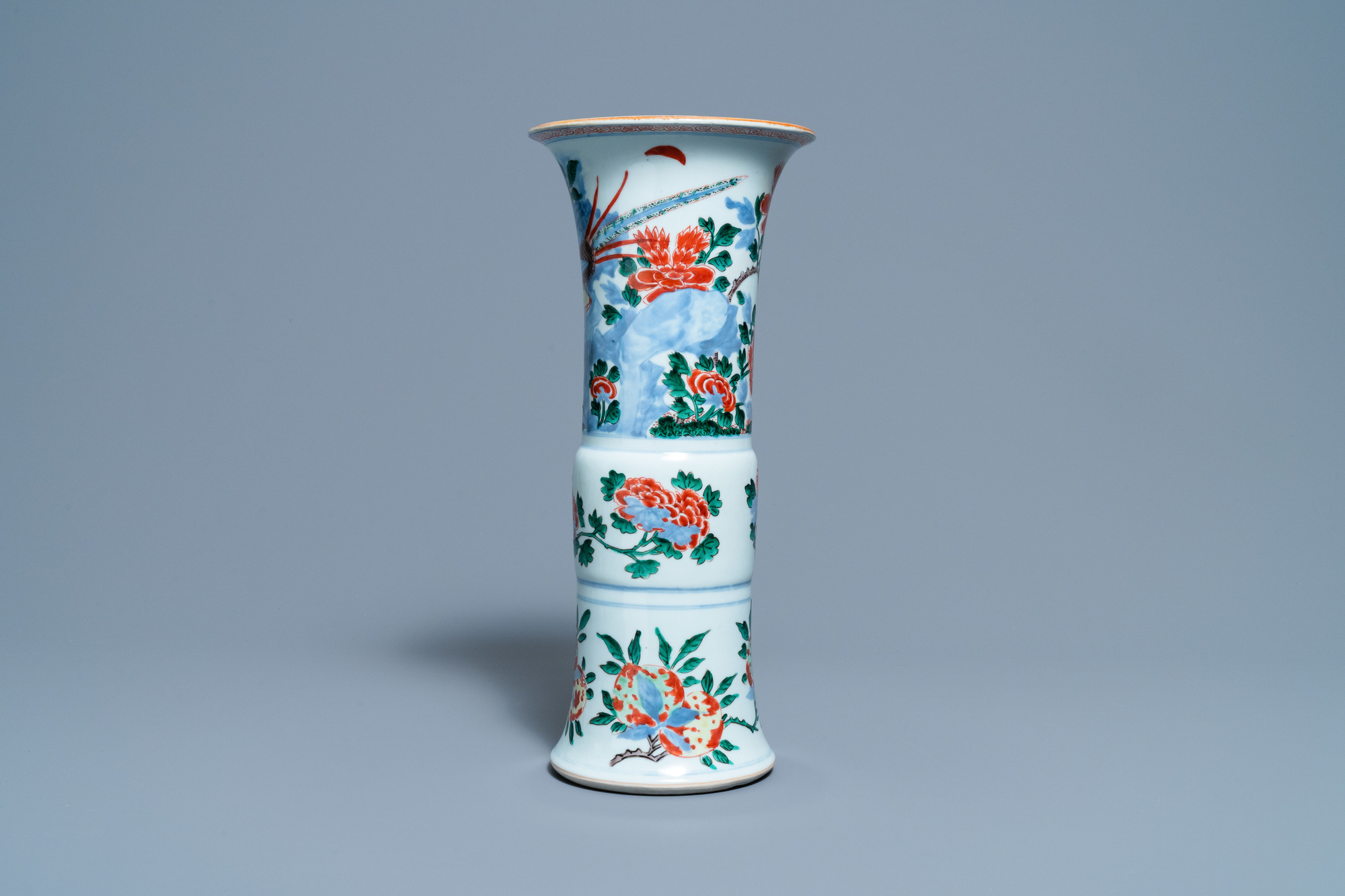 A Chinese wucai 'pheasant' vase, Transitional period - Image 2 of 6