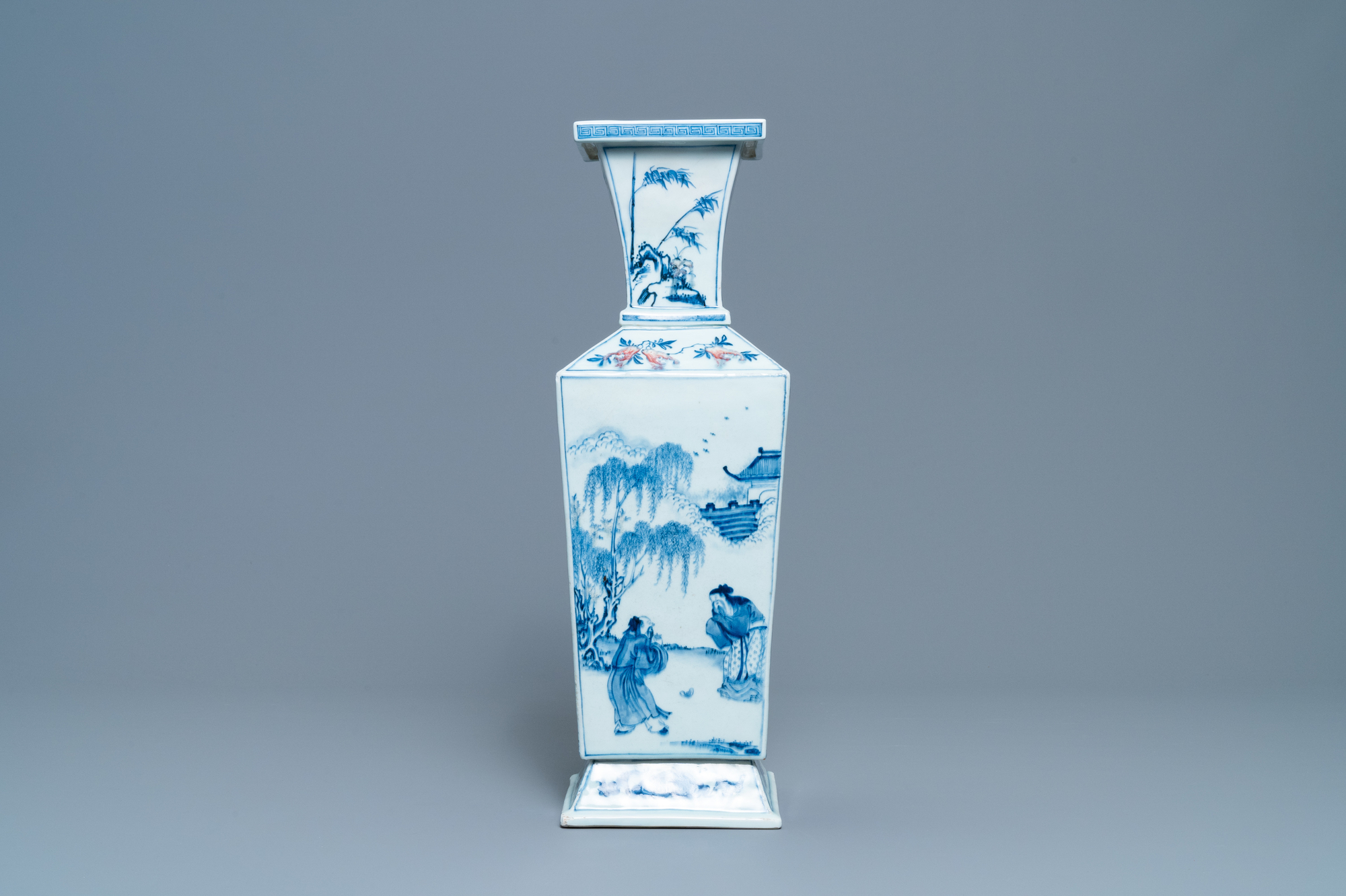 A Chinese square-sectioned blue, white and copper-red vase, Kangxi - Image 4 of 13