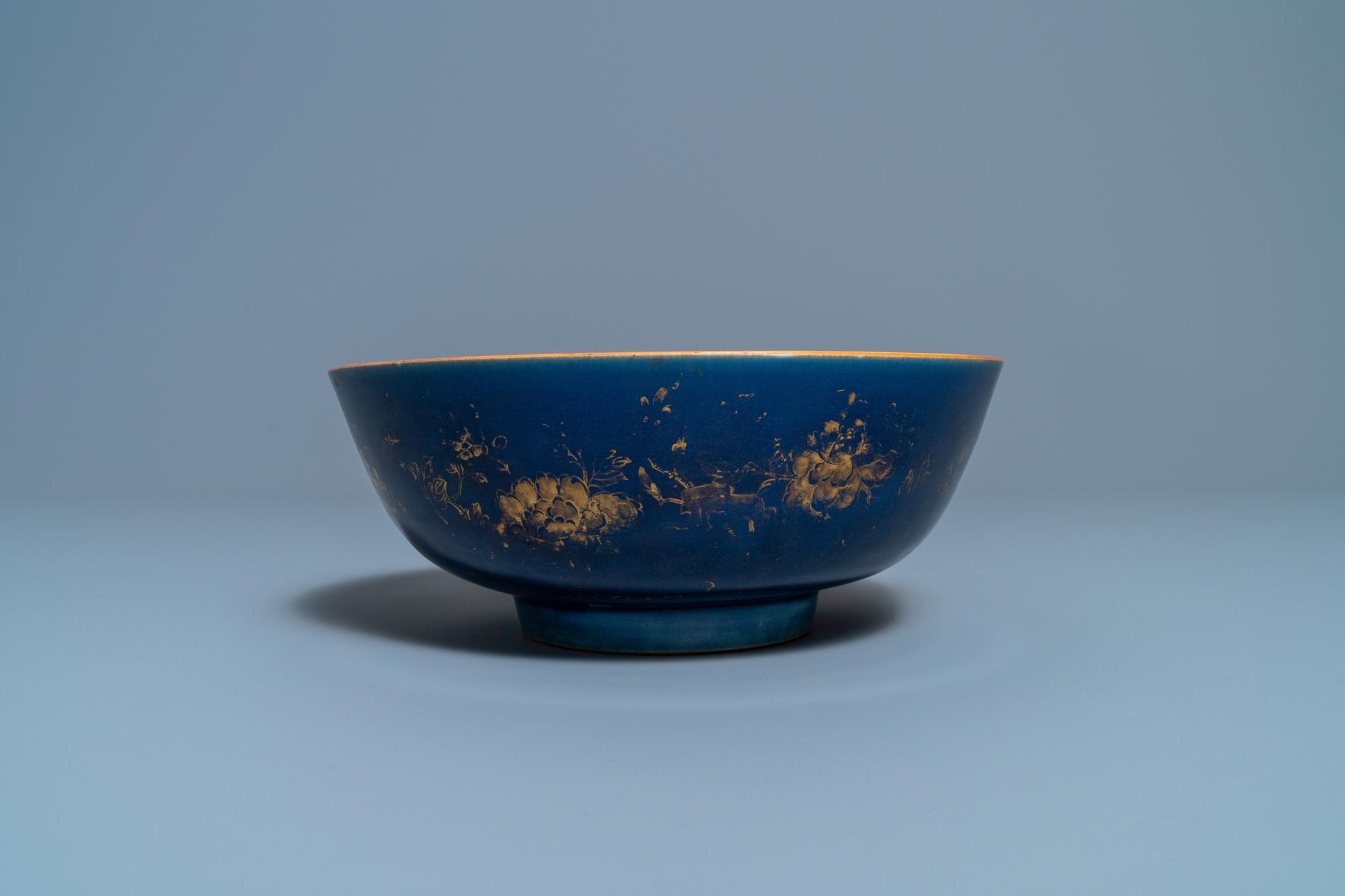 Three Chinese gilt-decorated monochrome blue bowls, Kangxi - Image 8 of 13