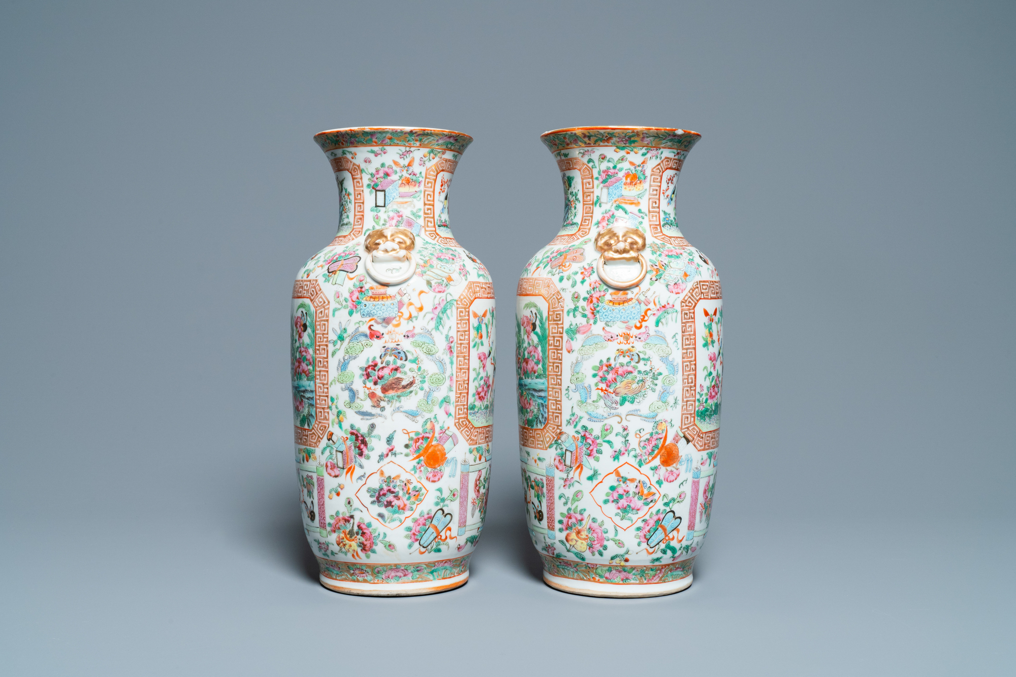 A pair of Chinese Canton famille rose vases, 19th C. - Image 2 of 6