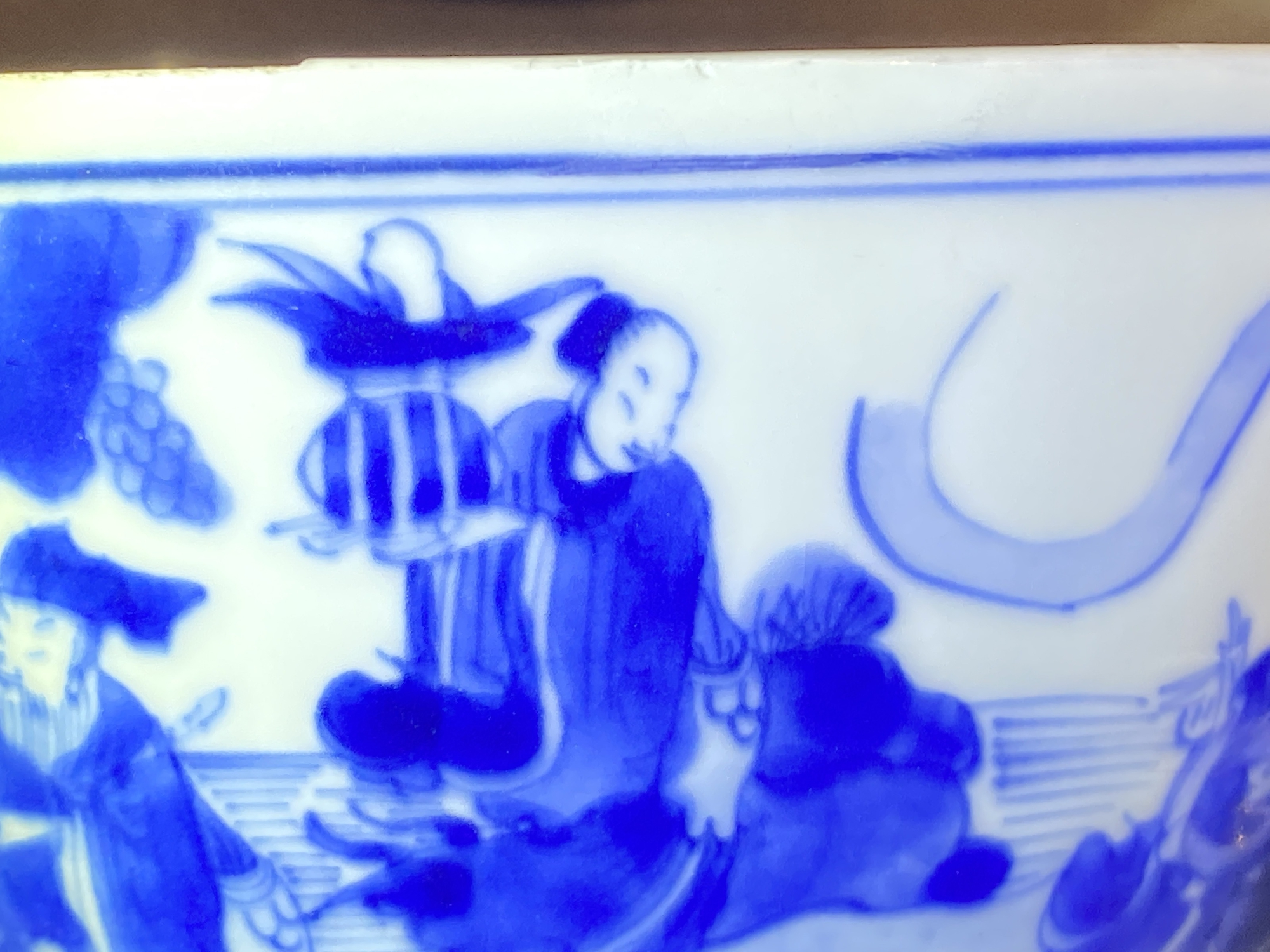 A Chinese blue and white 'immortals' bowl, Kangxi - Image 16 of 31