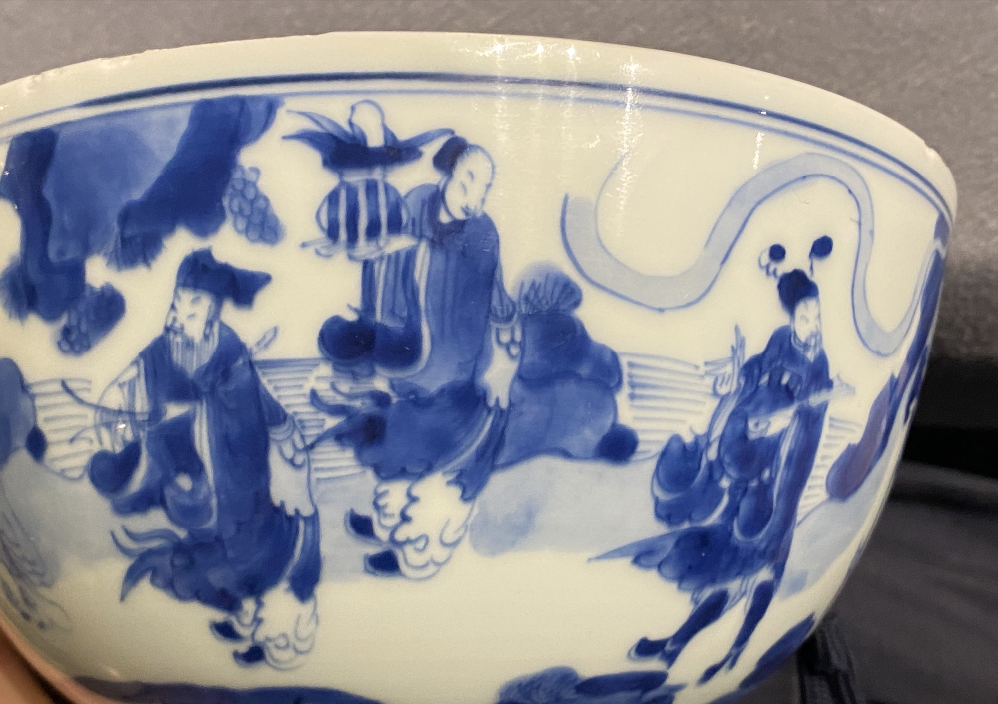 A Chinese blue and white 'immortals' bowl, Kangxi - Image 29 of 31