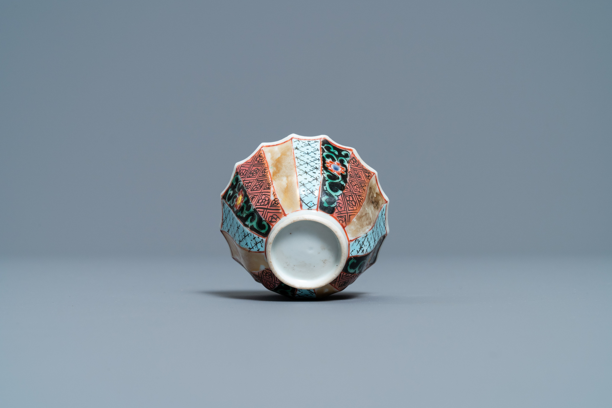 A lobed Chinese famille rose 'fishermen' cup and saucer, Yongzheng - Image 9 of 9