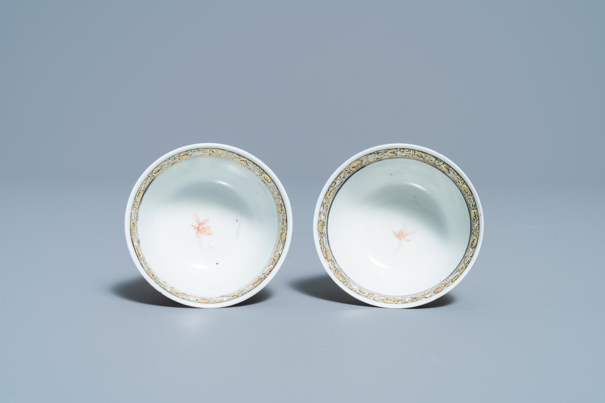 A fine Chinese 'landscape' teapot and a pair of cups and saucers, Yongzheng - Image 8 of 15