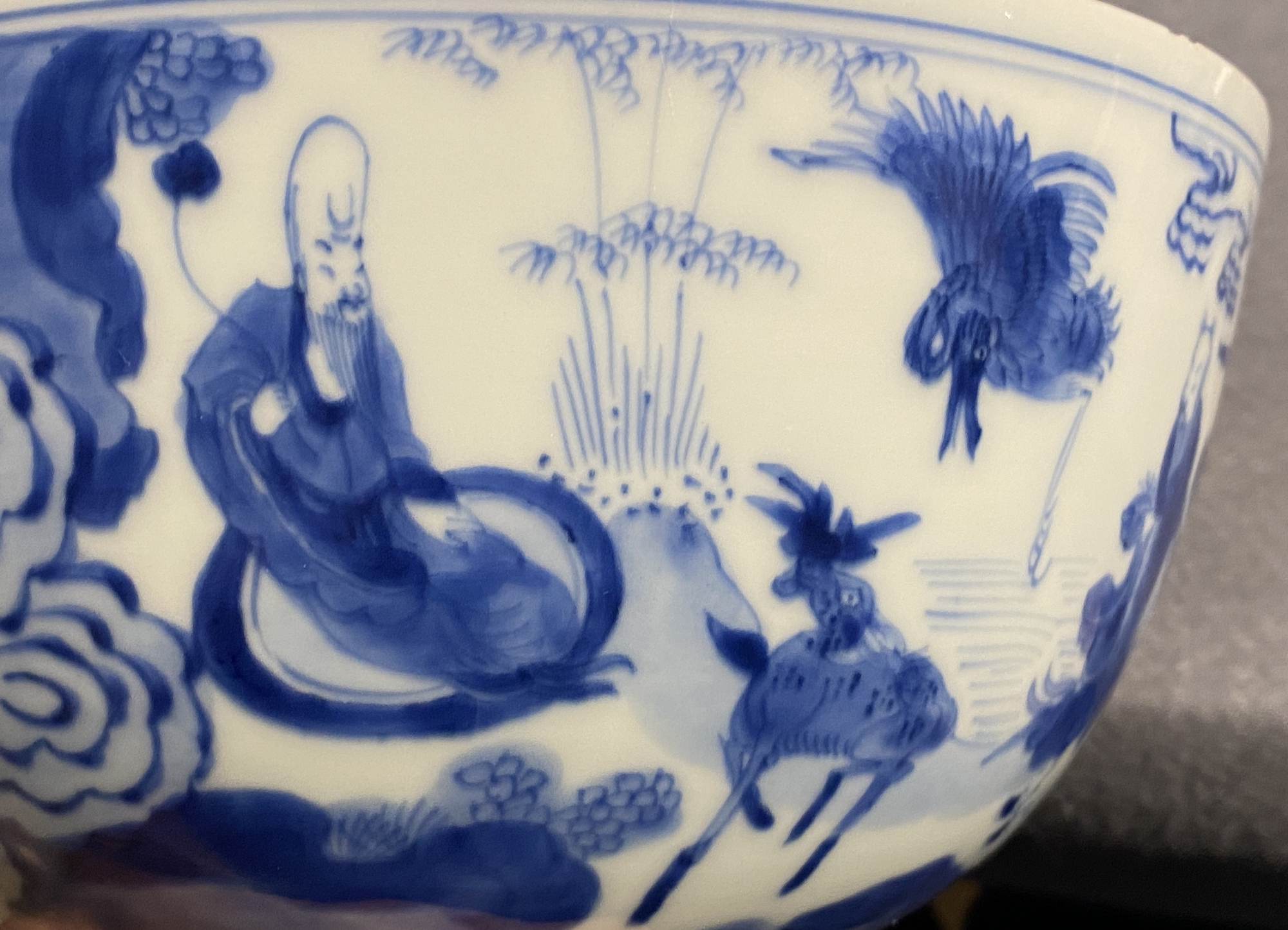 A Chinese blue and white 'immortals' bowl, Kangxi - Image 26 of 31