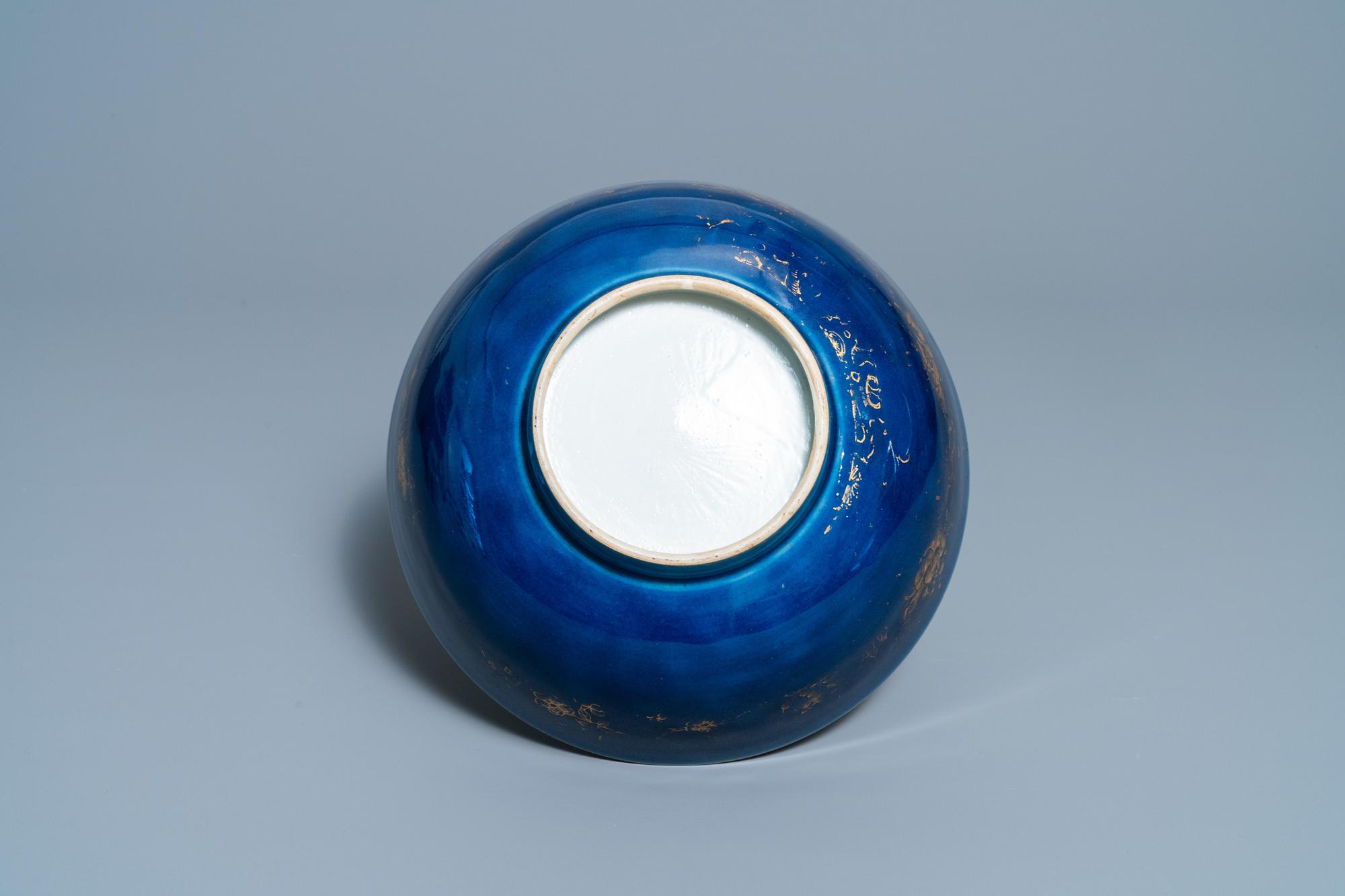 Three Chinese gilt-decorated monochrome blue bowls, Kangxi - Image 13 of 13