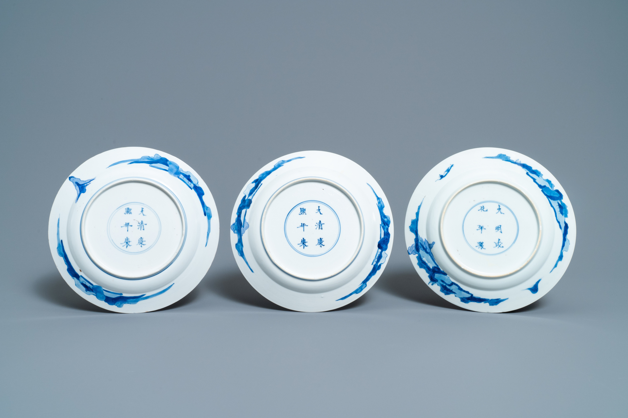 Five Chinese blue and white figurative plates, Kangxi and Chenghua marks, Kangxi - Image 5 of 5