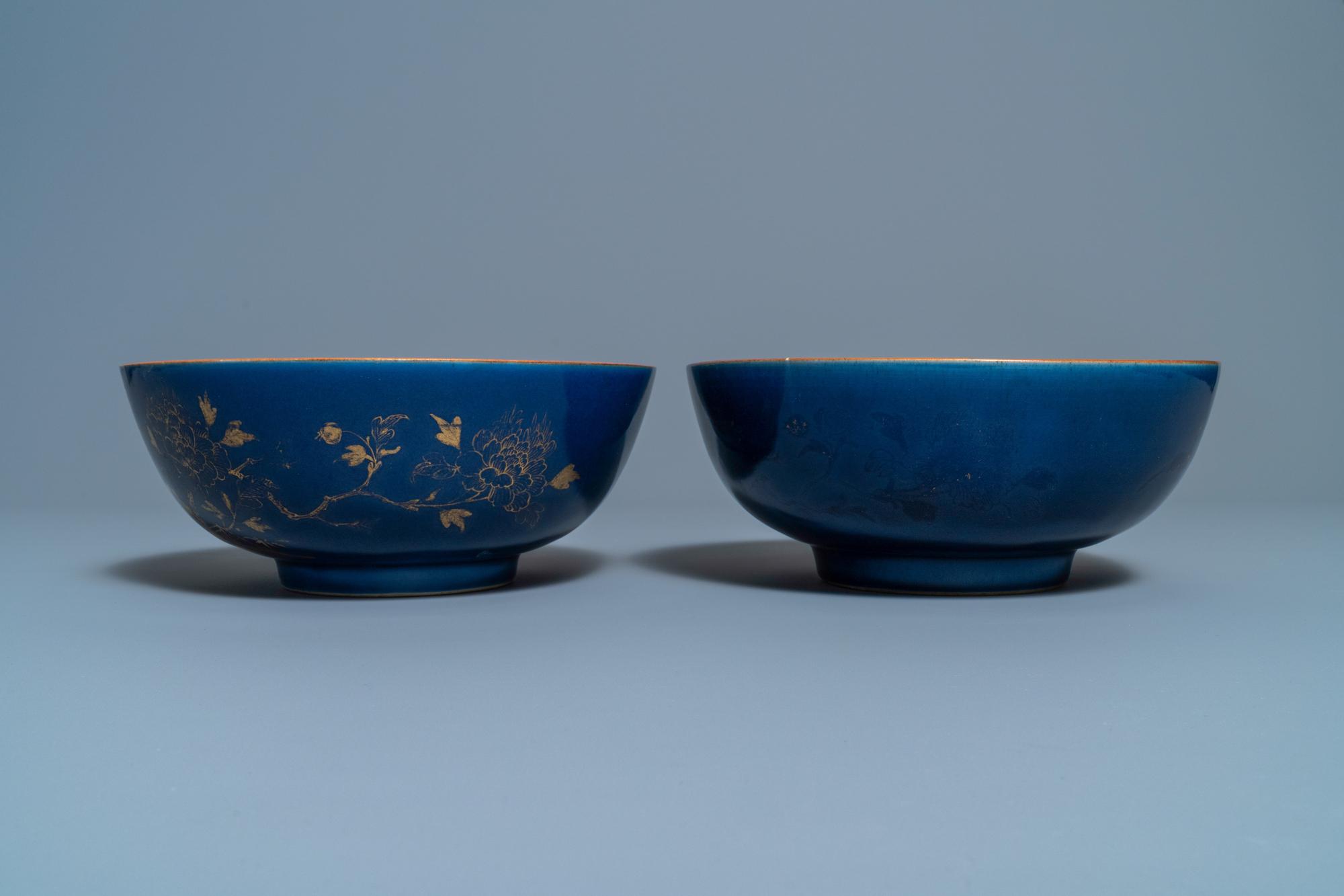 Three Chinese gilt-decorated monochrome blue bowls, Kangxi - Image 3 of 13