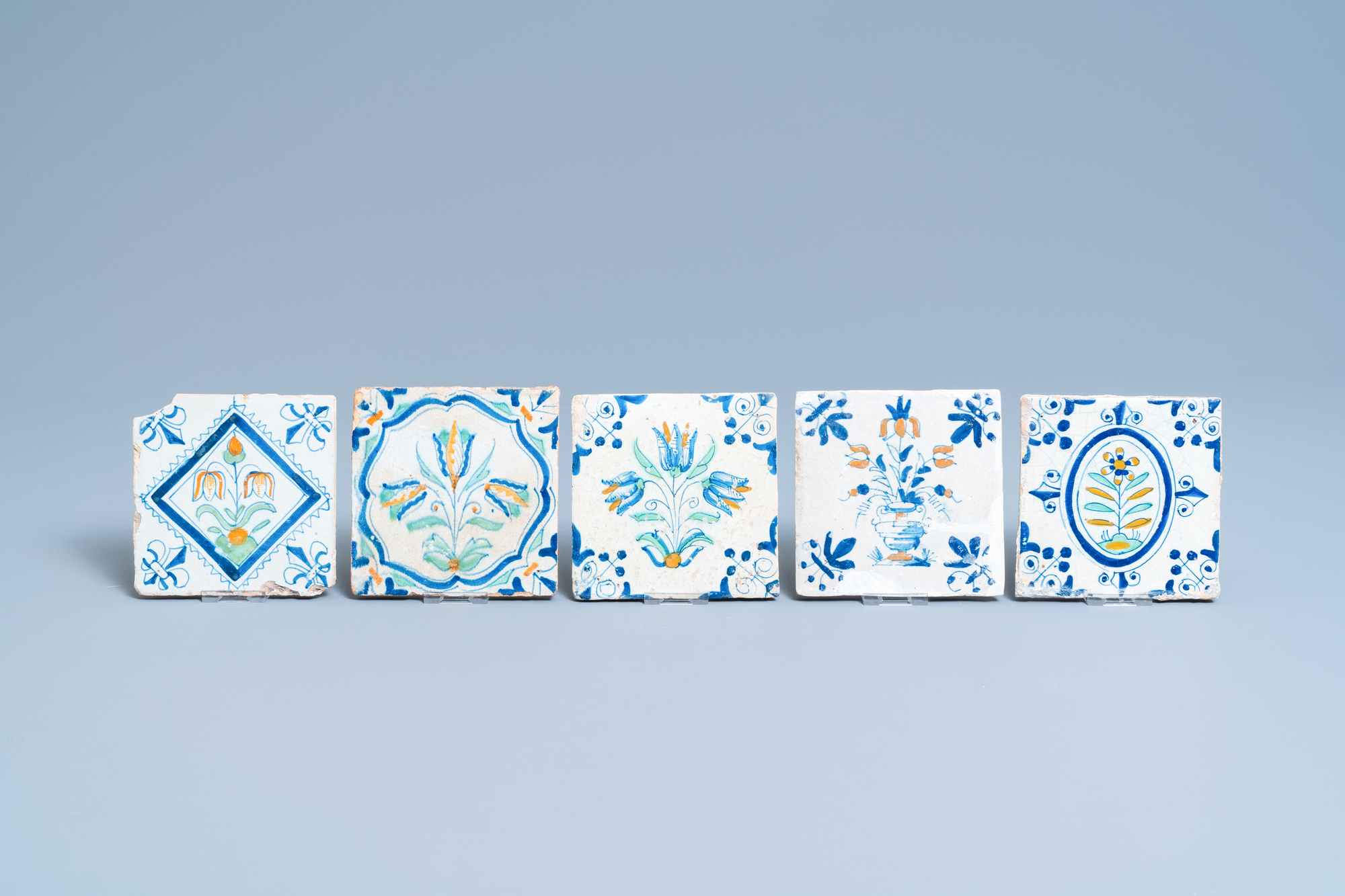 Ten polychrome Dutch Delft tiles with flowers and ornaments, 17th C. - Image 2 of 3