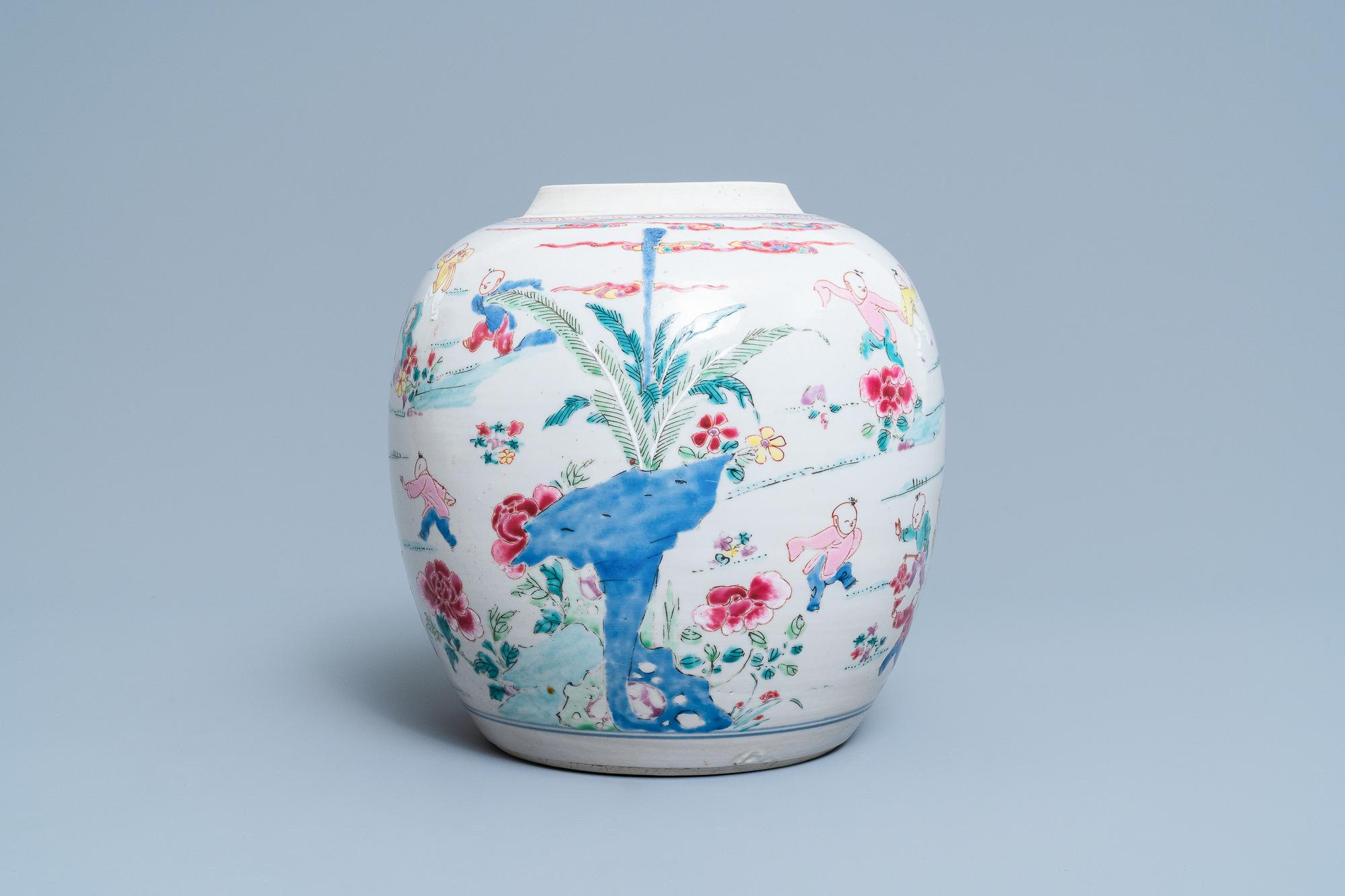 A Chinese famille rose 'hundred boys' jar, Yongzheng - Image 4 of 17