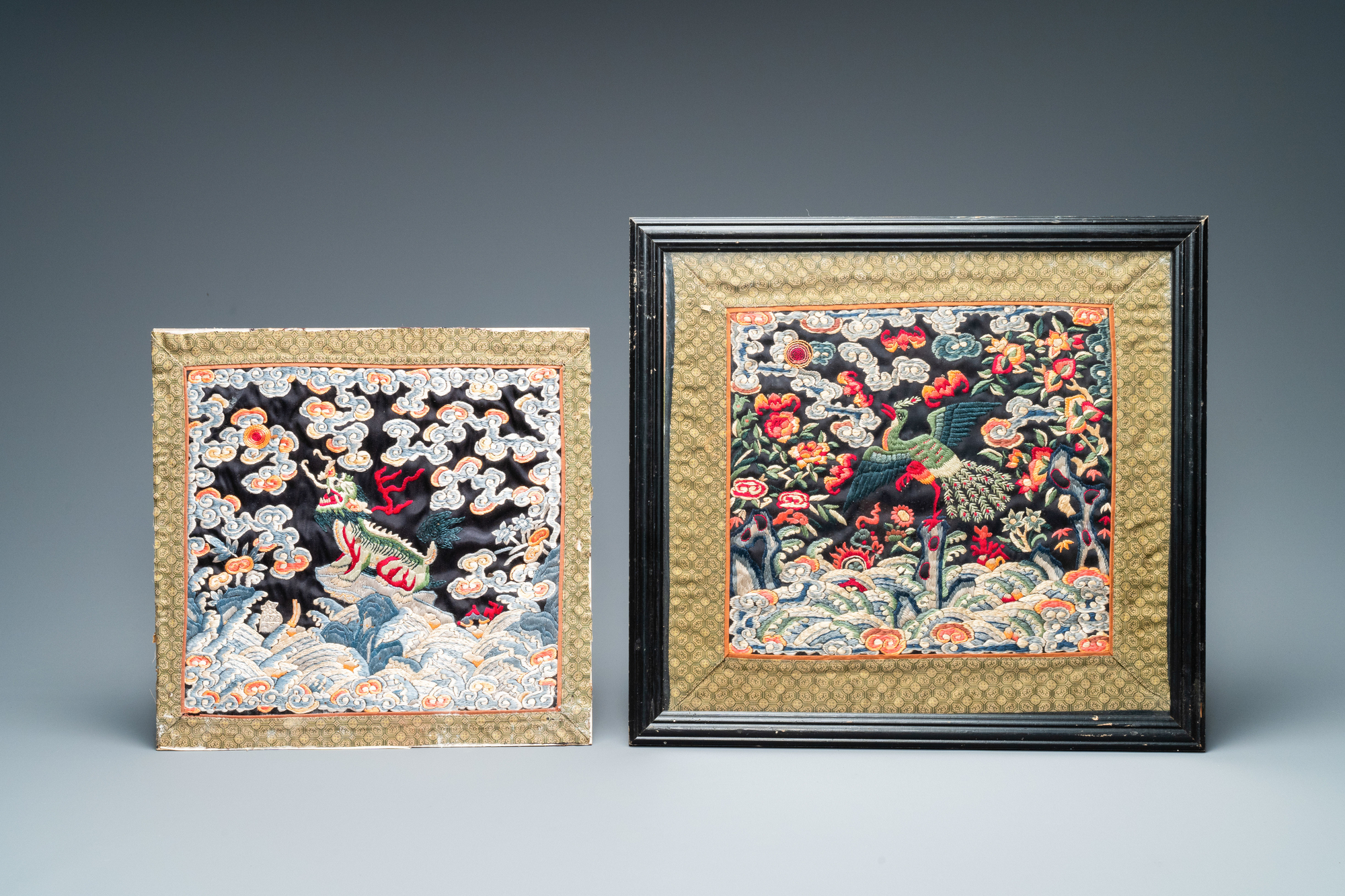 Seven Chinese embroidered silk rank badges, 19/20th C. - Image 3 of 5