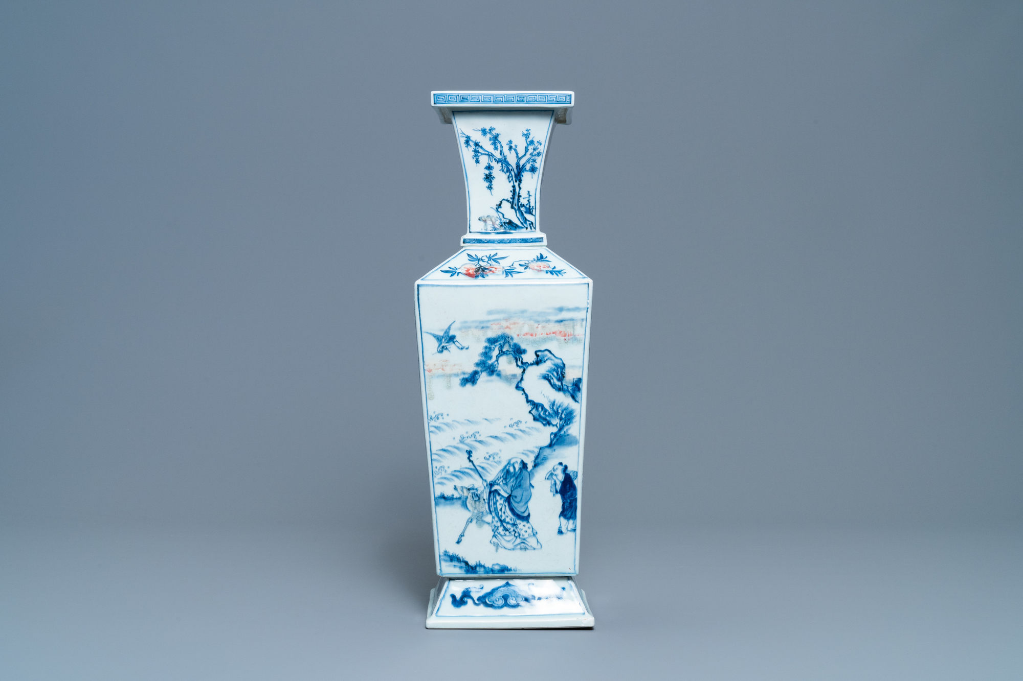 A Chinese square-sectioned blue, white and copper-red vase, Kangxi - Image 3 of 13
