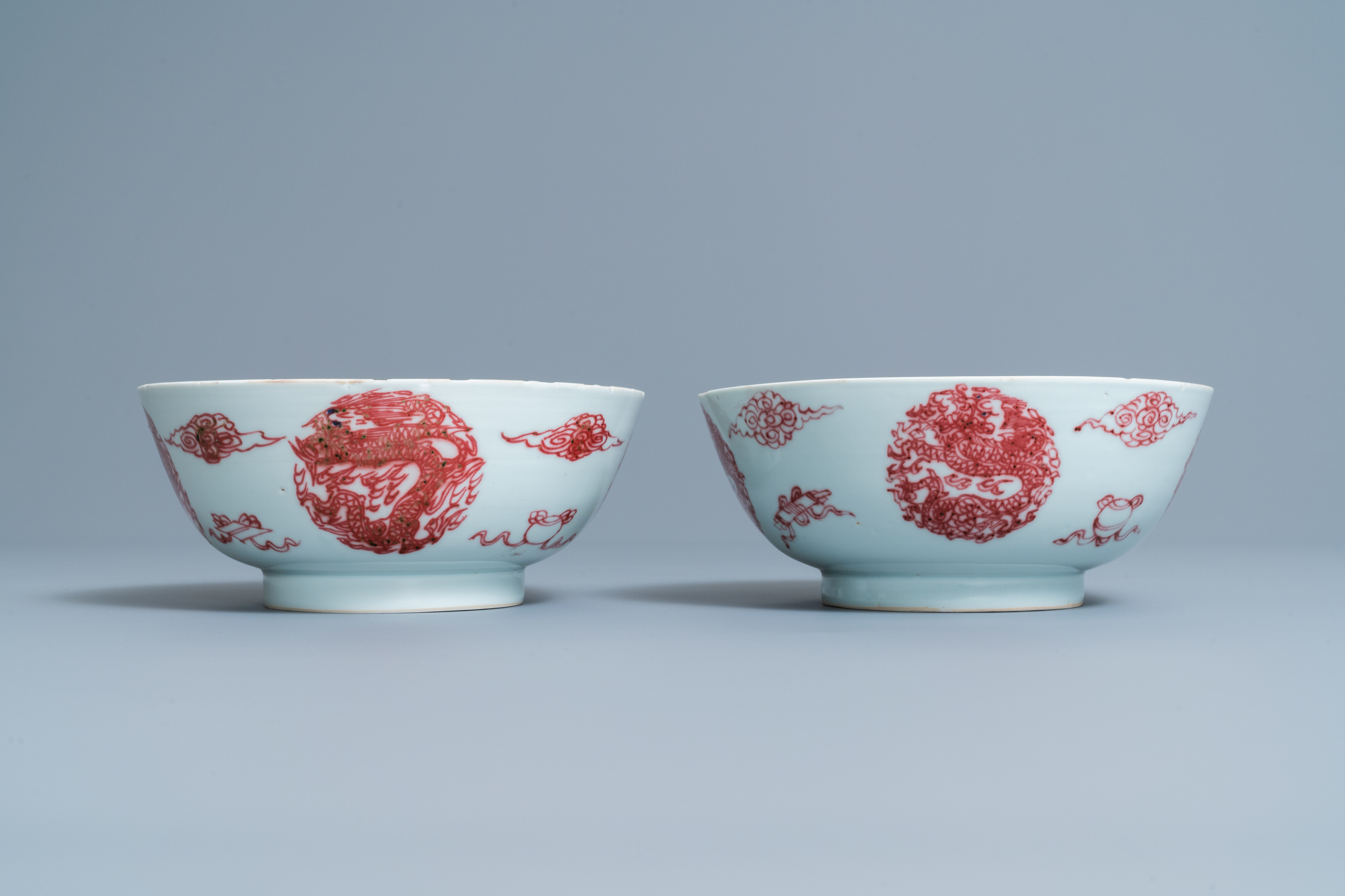A pair of Chinese copper-red 'dragons and carps' bowls, Kangxi/Qianlong - Image 3 of 8