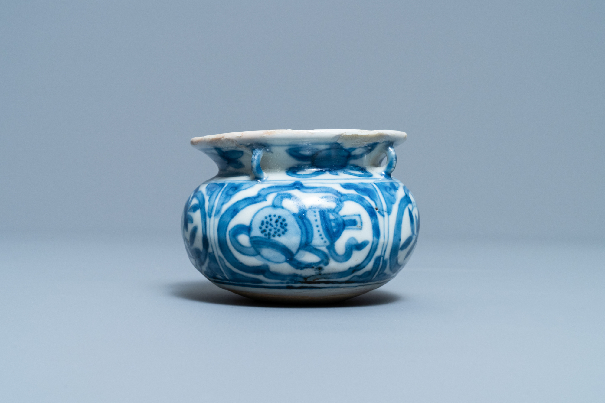 A small Chinese blue and white 'Taoist symbols' censer, Ming - Image 4 of 7