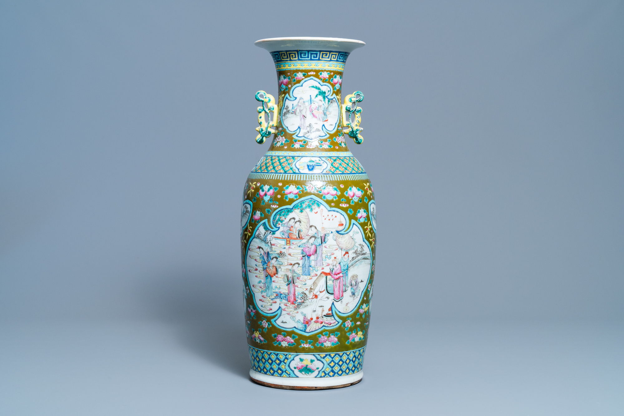 A Chinese brown-ground famille rose vase, 19th C.