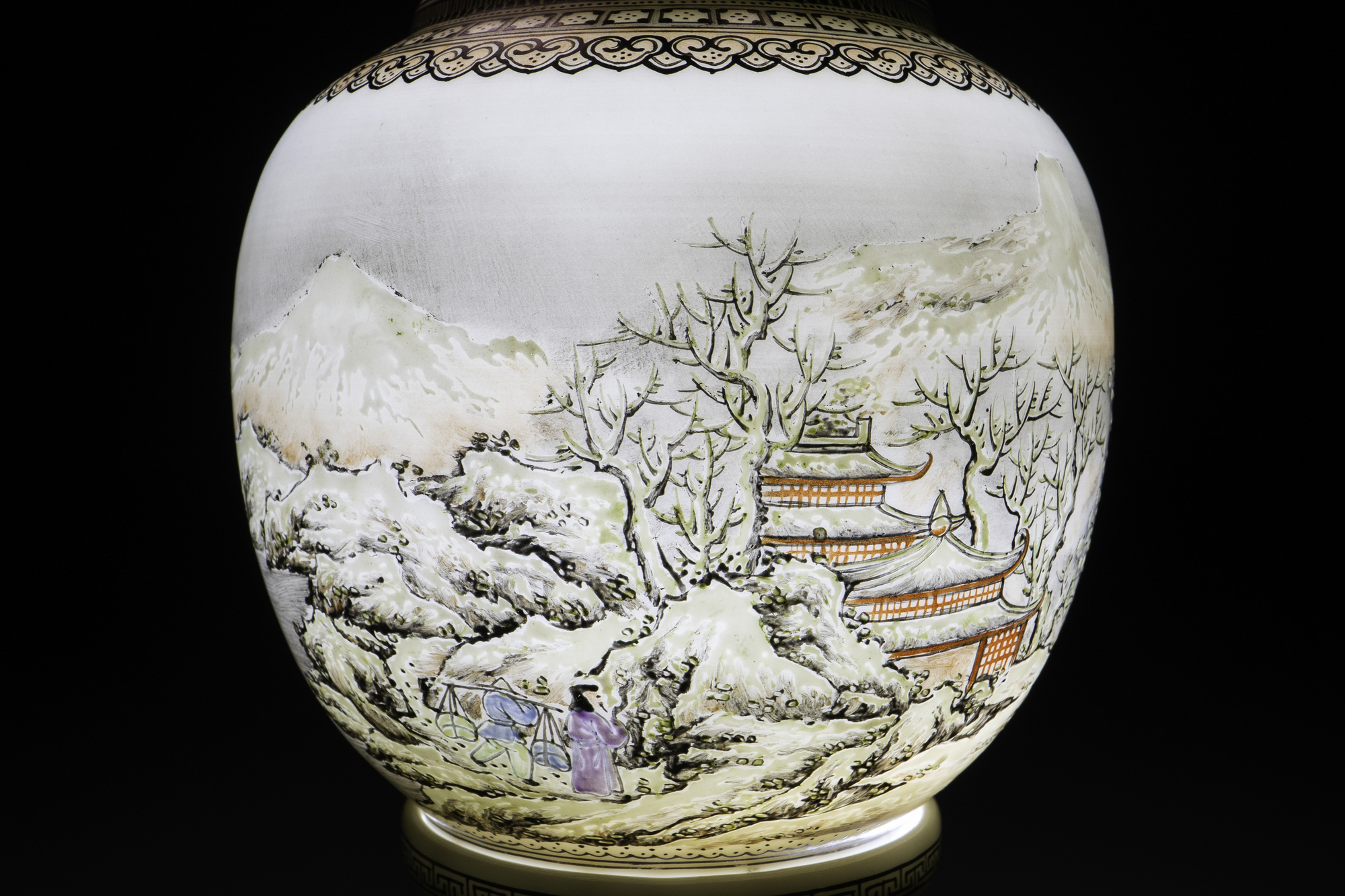 A Chinese eggshell porcelain lantern with a winter landscape, Republic - Image 5 of 8