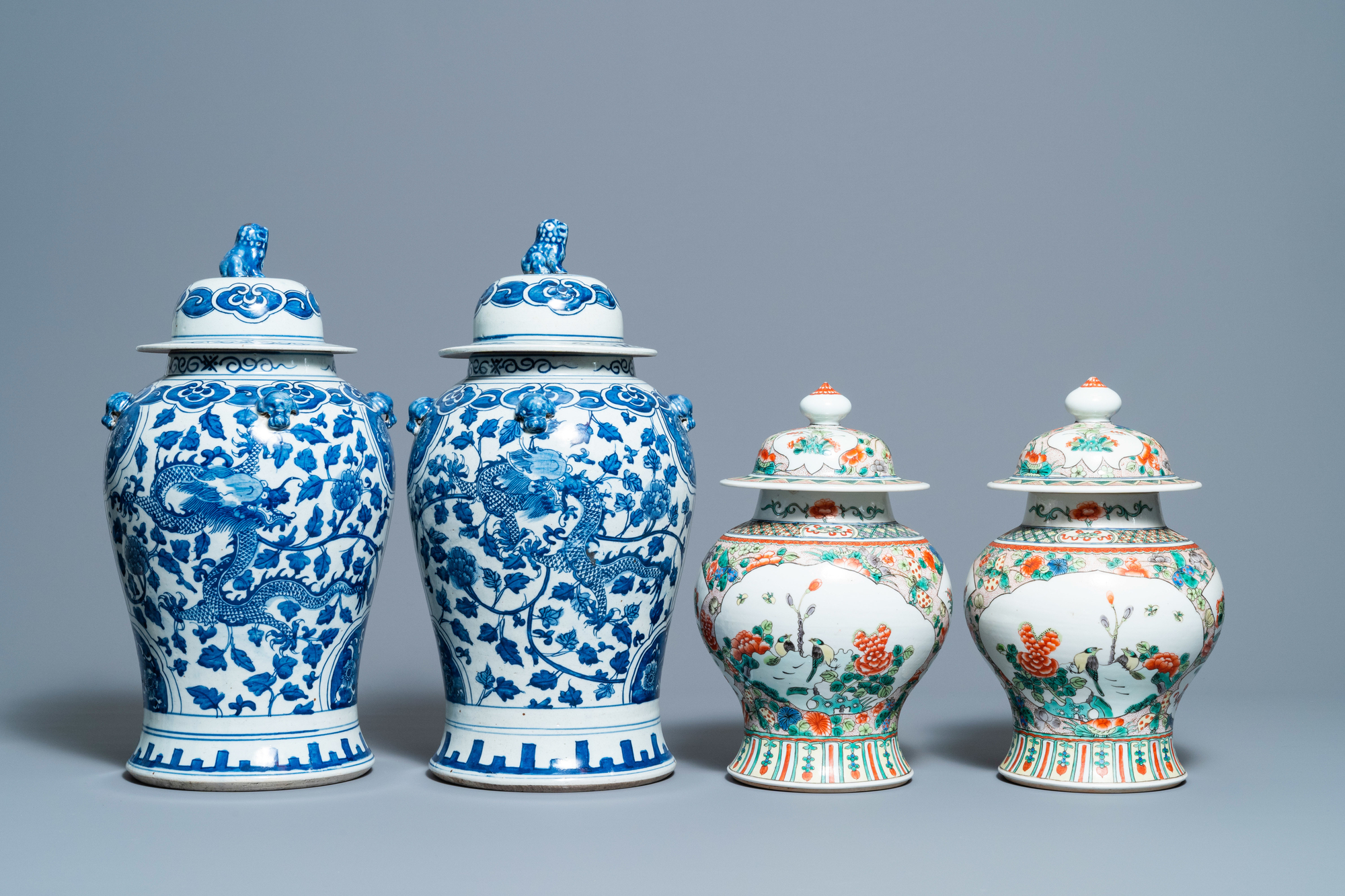 Two pairs of Chinese blue and white and famille verte vases and covers, 19/20th C. - Image 4 of 9