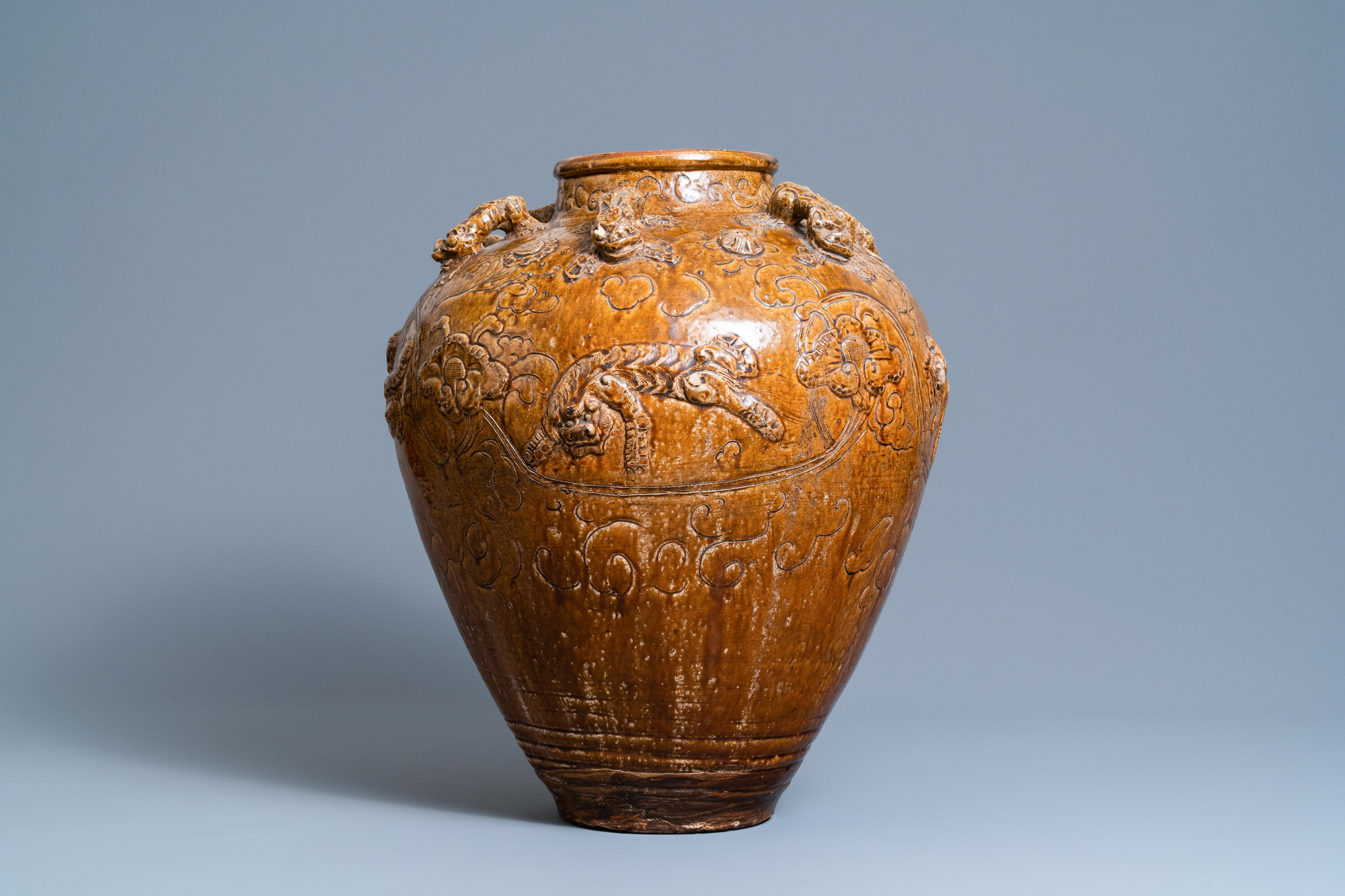 A large Chinese brown-glazed relief-molded martaban jar with Buddhist lions, Ming - Image 2 of 6