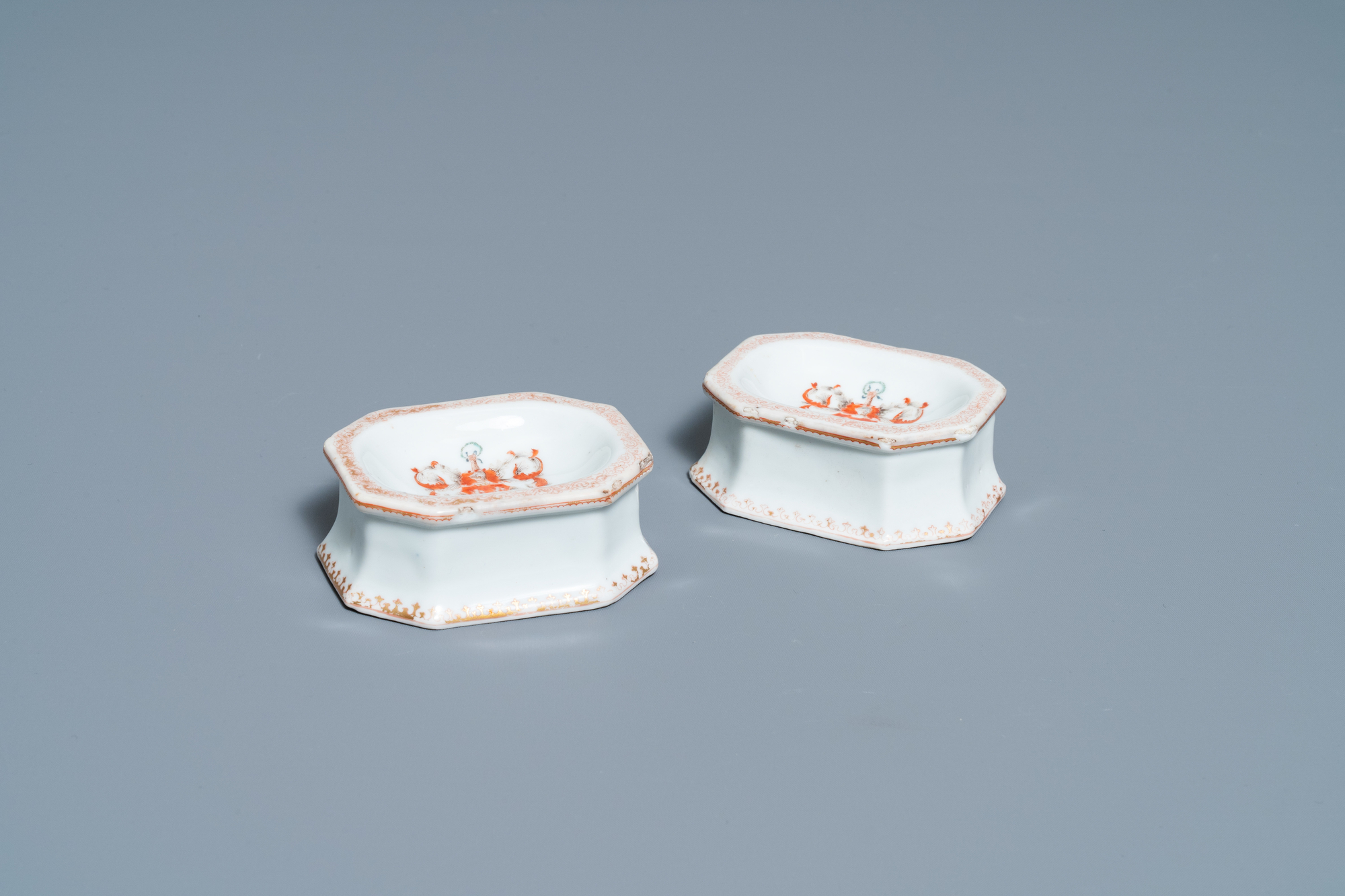 A pair of Chinese Scottish market Ross of Balnagowan armorial salt cellars, Qianlong
