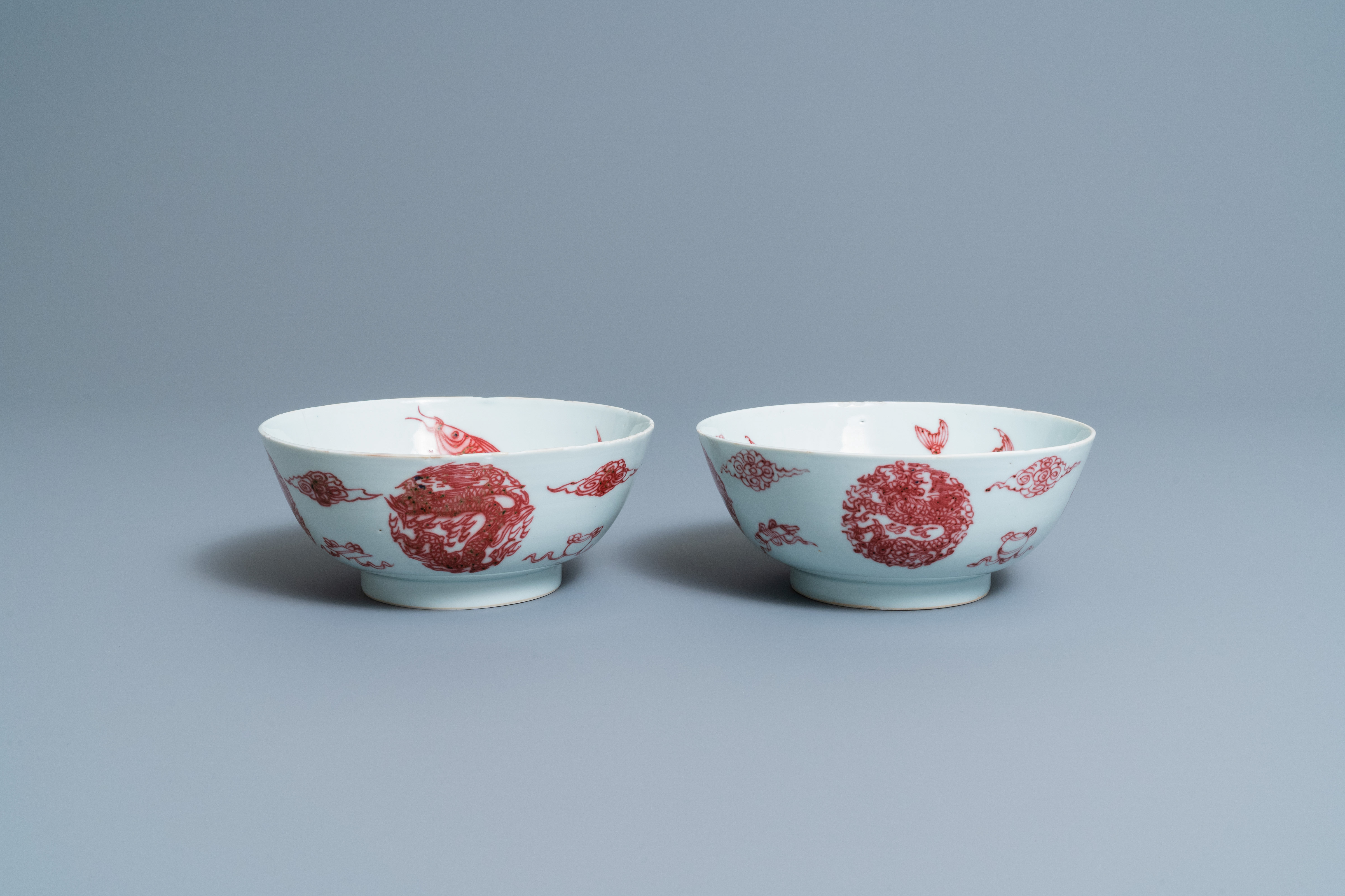 A pair of Chinese copper-red 'dragons and carps' bowls, Kangxi/Qianlong - Image 2 of 8
