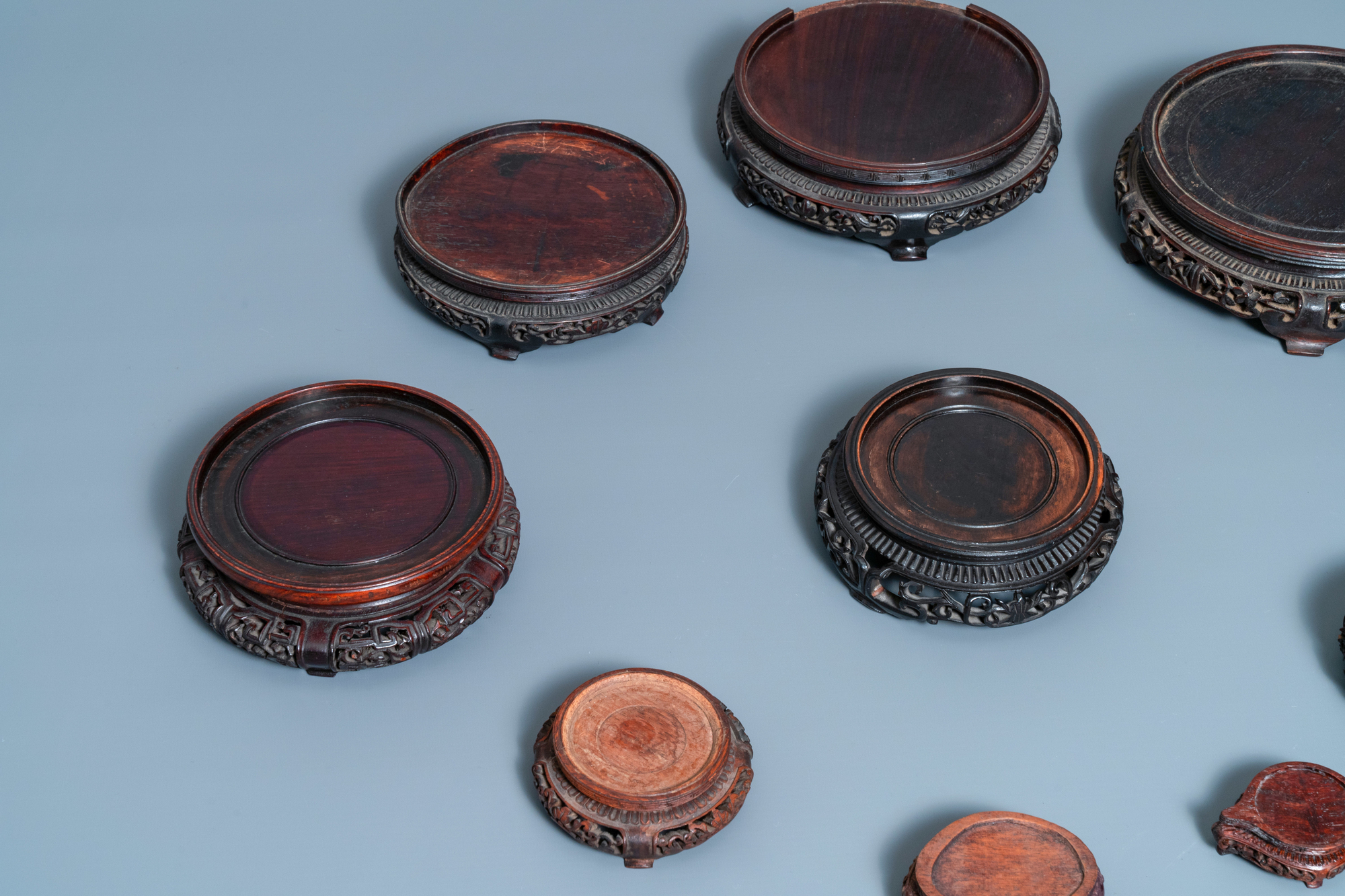 Ten Chinese reticulated carved wooden stands, 19/20th C. - Image 4 of 4