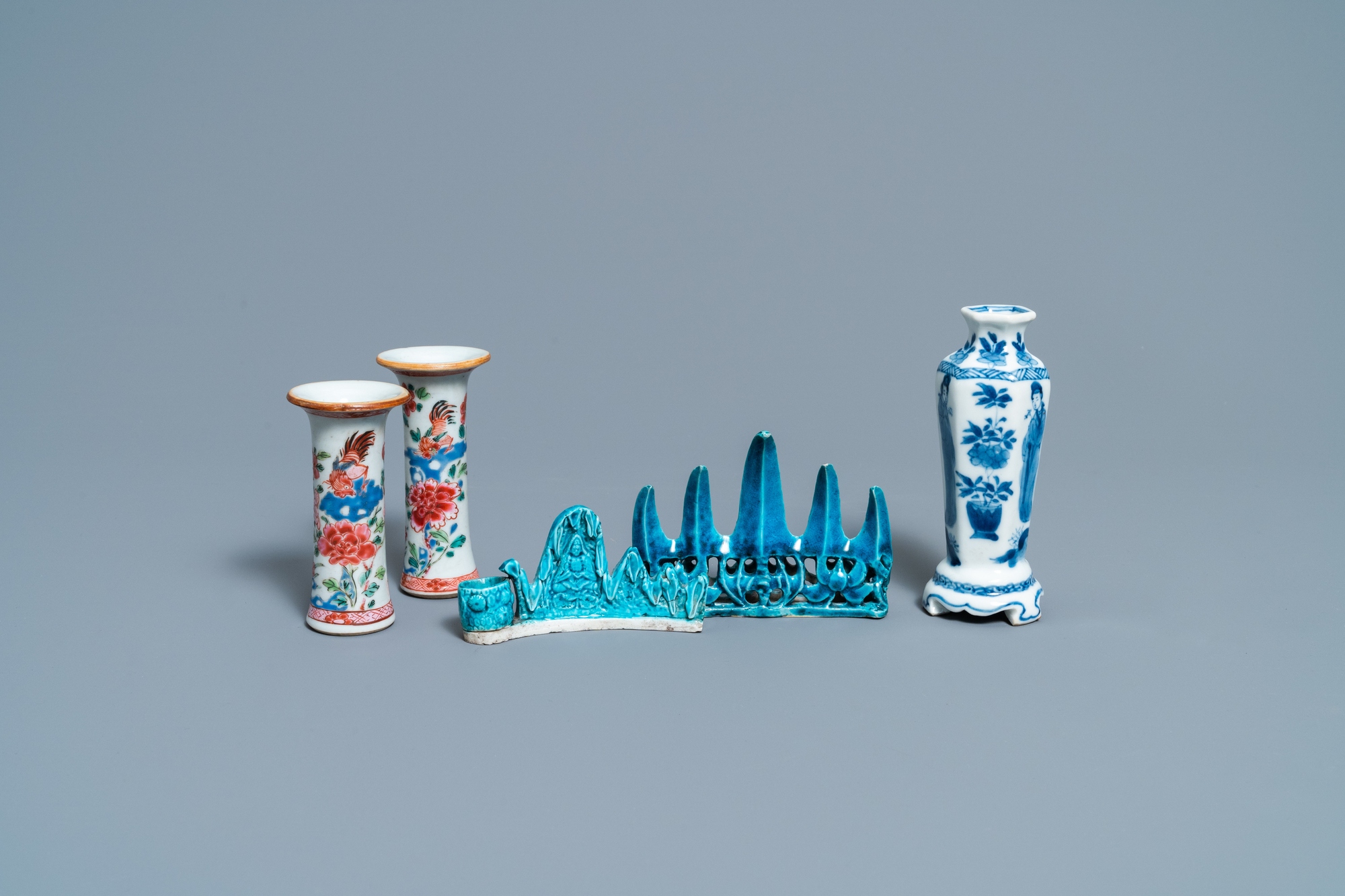 Three Chinese famille rose and blue and white vases and two turquoise brush rests, Kangxi/Qianlong