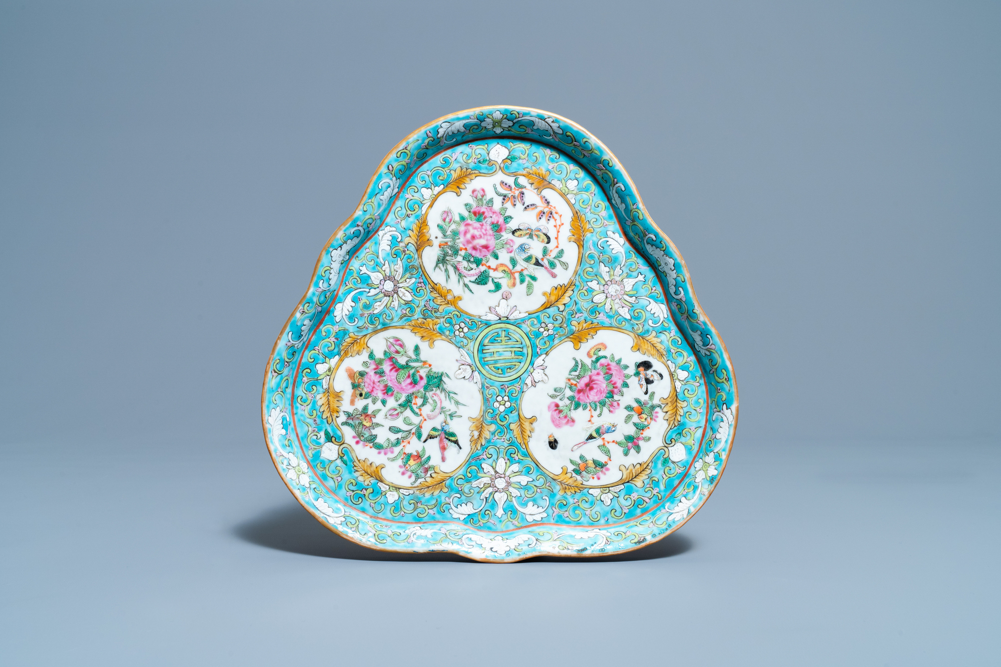A Chinese famille rose 'tete-a-tete' tea service on tray, 19th C. - Image 2 of 10