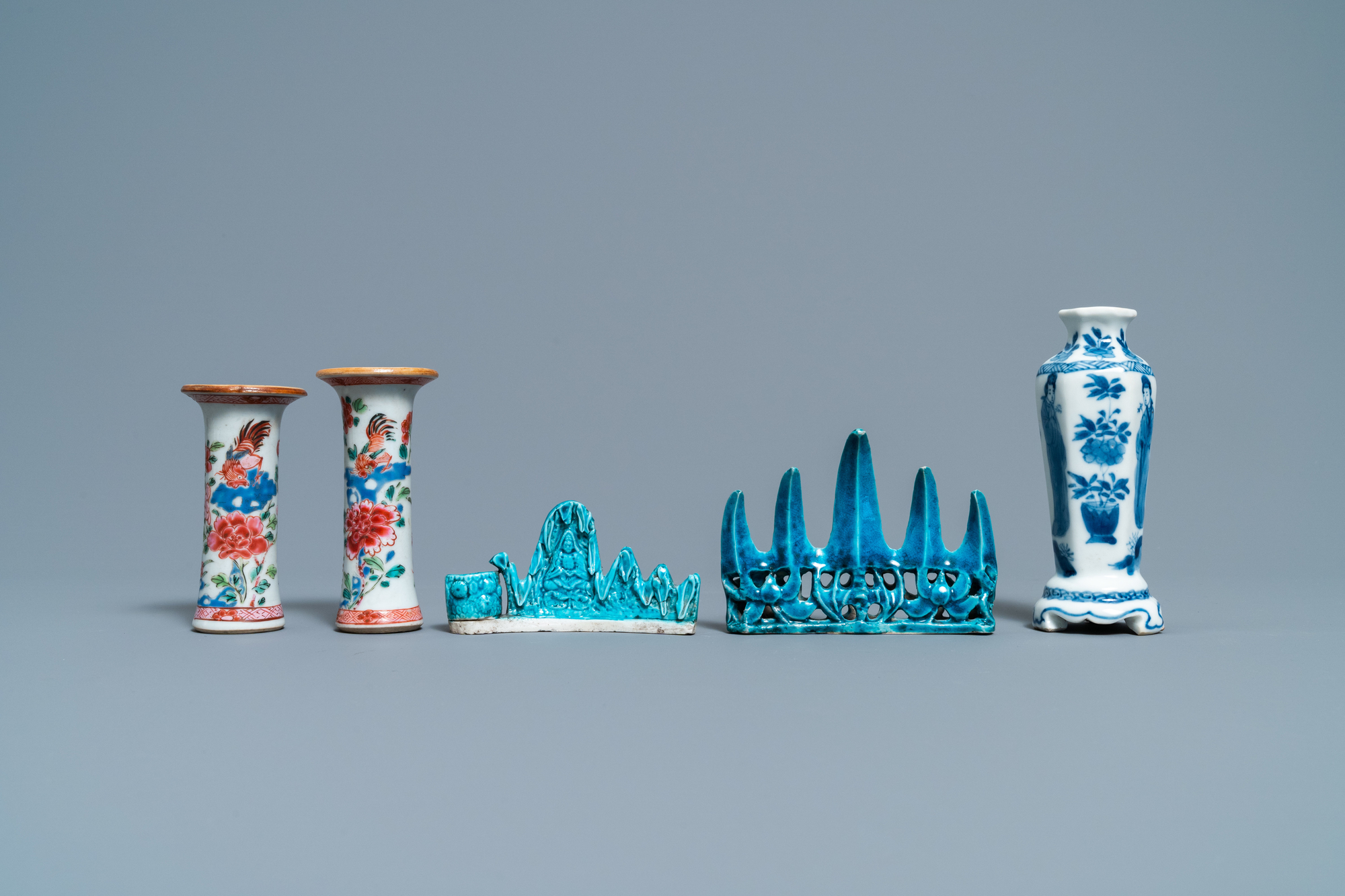 Three Chinese famille rose and blue and white vases and two turquoise brush rests, Kangxi/Qianlong - Image 2 of 7