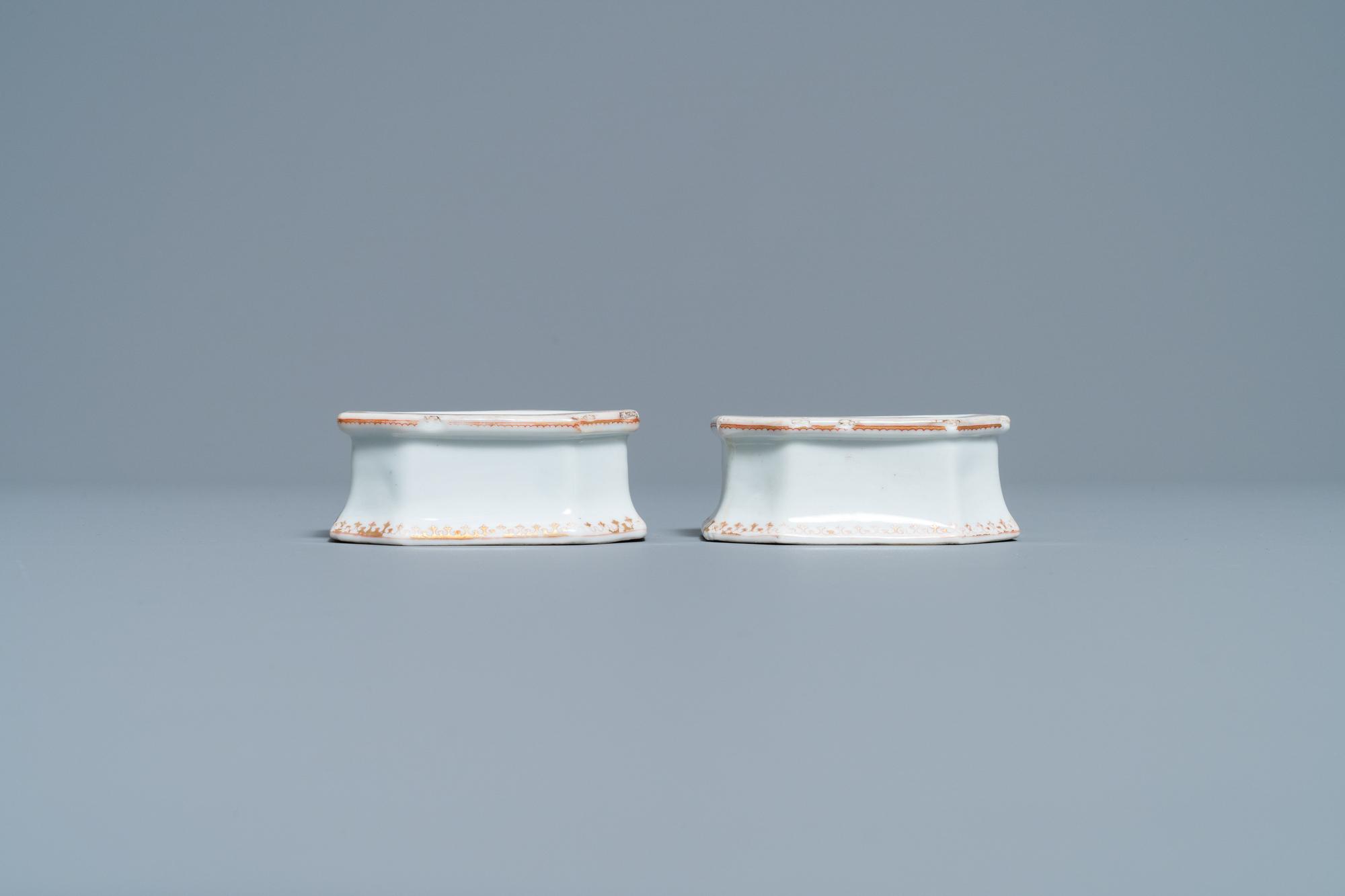 A pair of Chinese Scottish market Ross of Balnagowan armorial salt cellars, Qianlong - Image 2 of 7