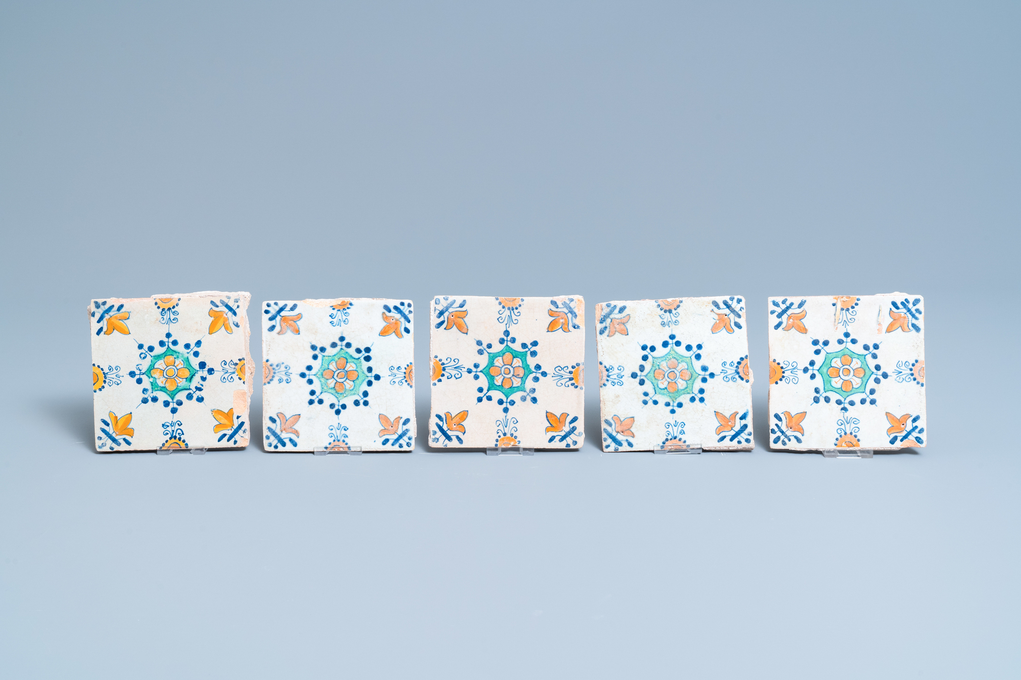 Ten polychrome Dutch Delft tiles with flowers and ornaments, 17th C. - Image 3 of 3