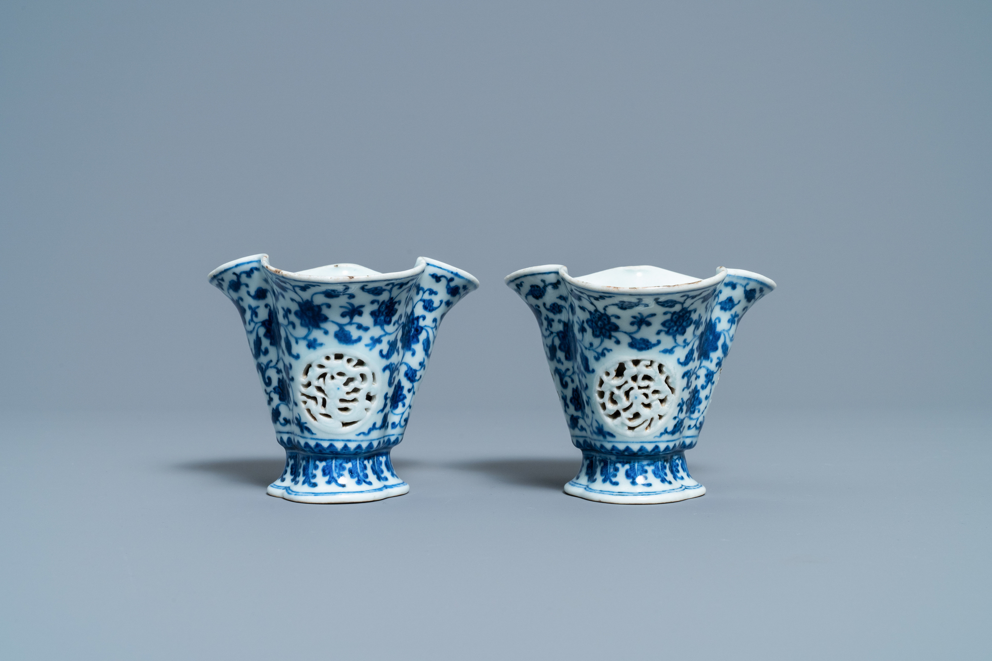 A pair of rare Chinese blue and white double-walled reticulated trilobed libation cups, Qianlong - Image 4 of 13