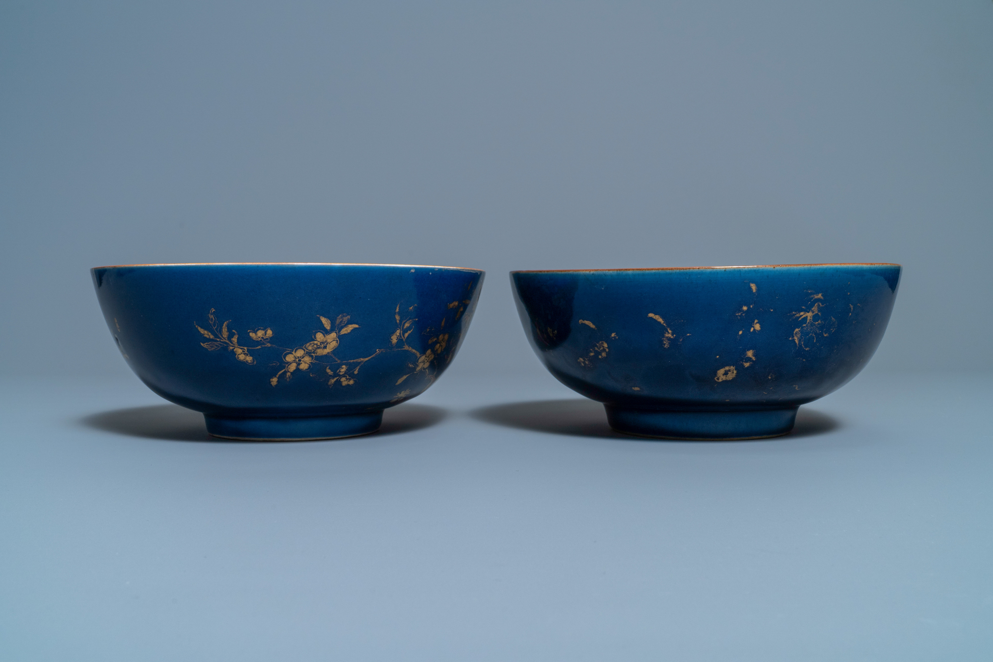 Three Chinese gilt-decorated monochrome blue bowls, Kangxi - Image 5 of 13