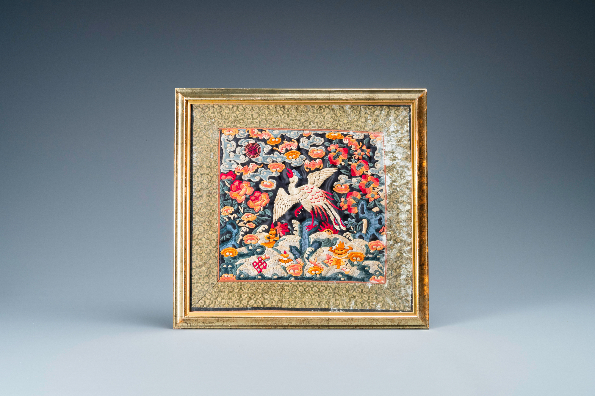 Seven Chinese embroidered silk rank badges, 19/20th C. - Image 5 of 5