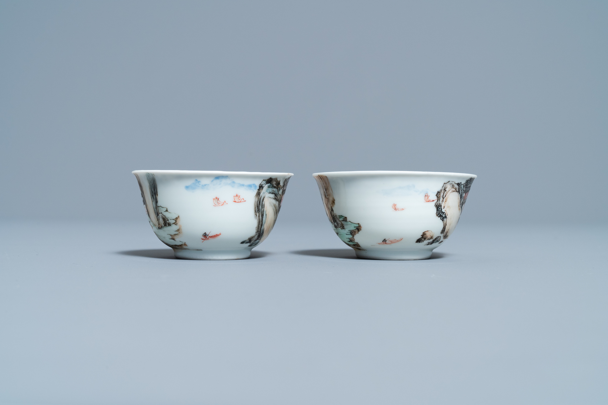 A fine Chinese 'landscape' teapot and a pair of cups and saucers, Yongzheng - Image 7 of 15
