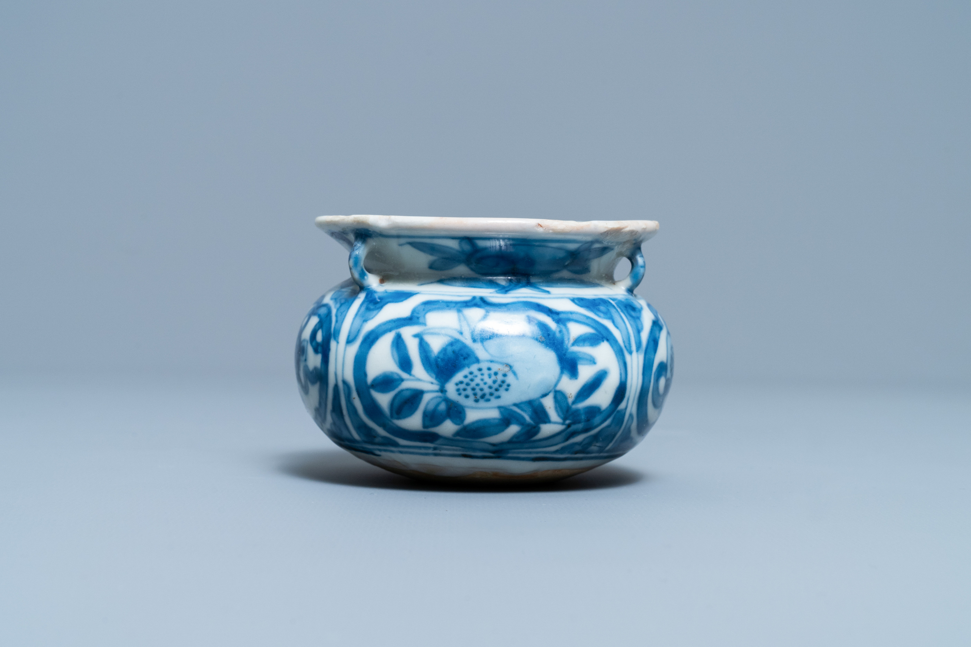 A small Chinese blue and white 'Taoist symbols' censer, Ming - Image 5 of 7