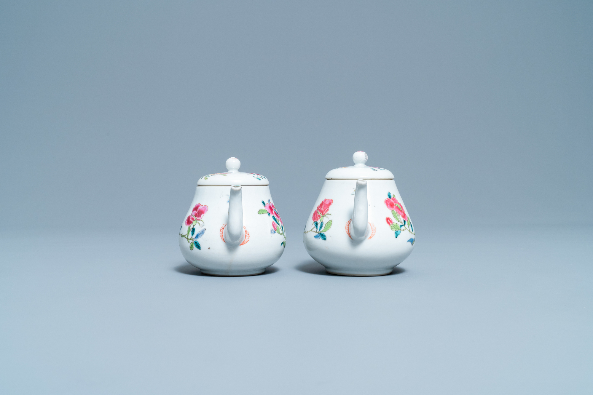 A pair of Chinese famille rose relief-decorated dishes, Yongzheng - Image 5 of 7