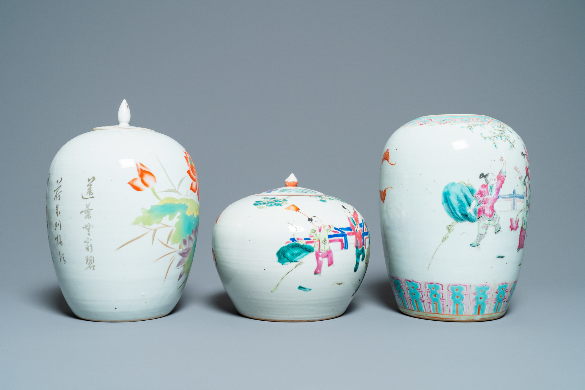 Six Chinese famille rose and verte vases, 19/20th C. - Image 5 of 13