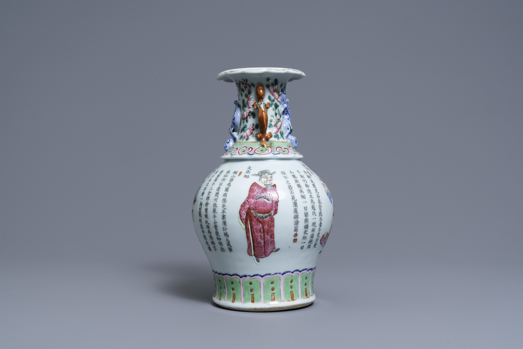 A Chinese famille rose 'Wu Shuang Pu' vase, 19th C. - Image 3 of 6