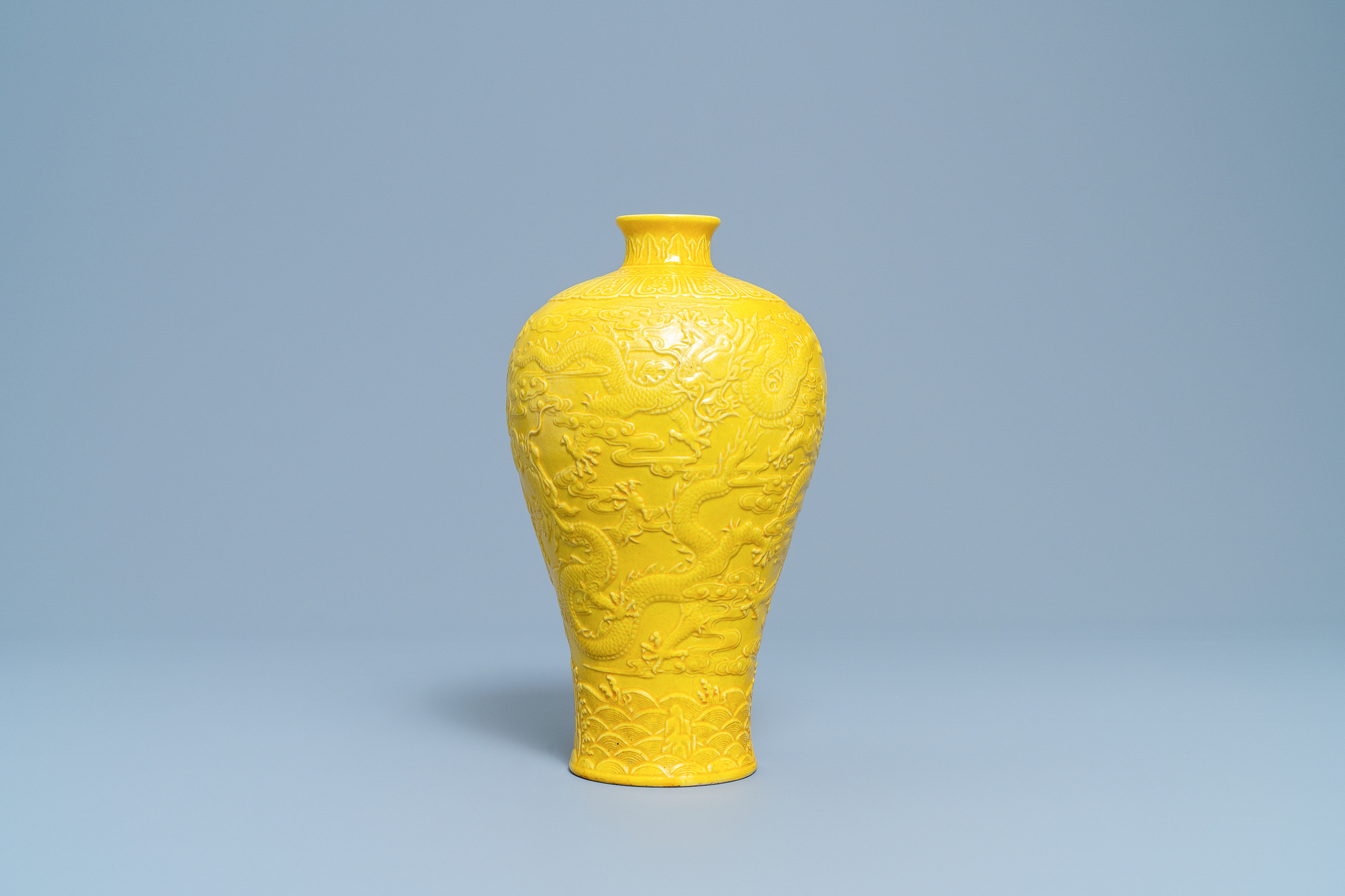 A Chinese relief-molded monochrome yellow meiping 'dragon' vase, Republic - Image 2 of 6