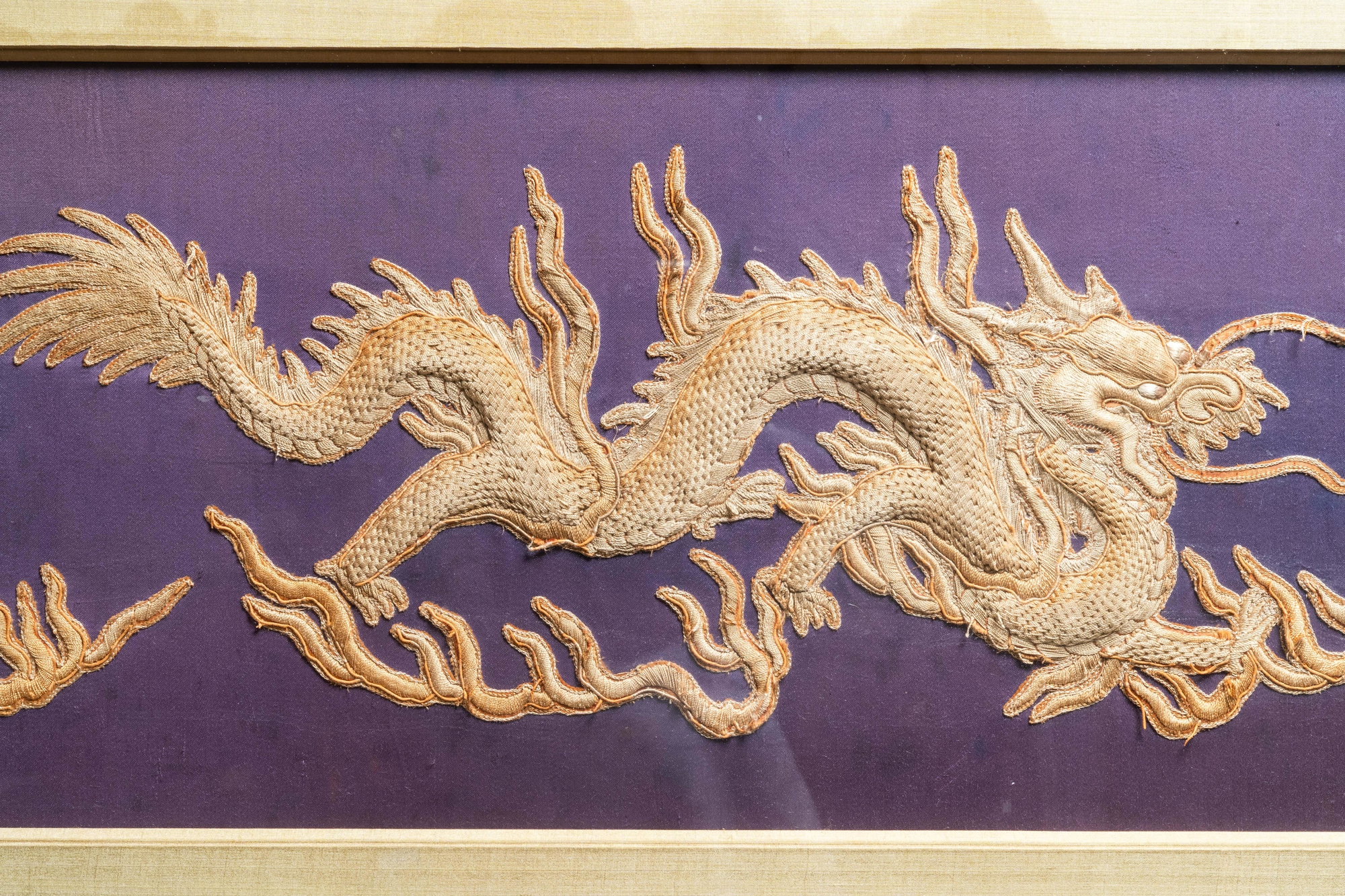 Three Chinese panels of embroidered silk, 19/20th C. - Image 5 of 17