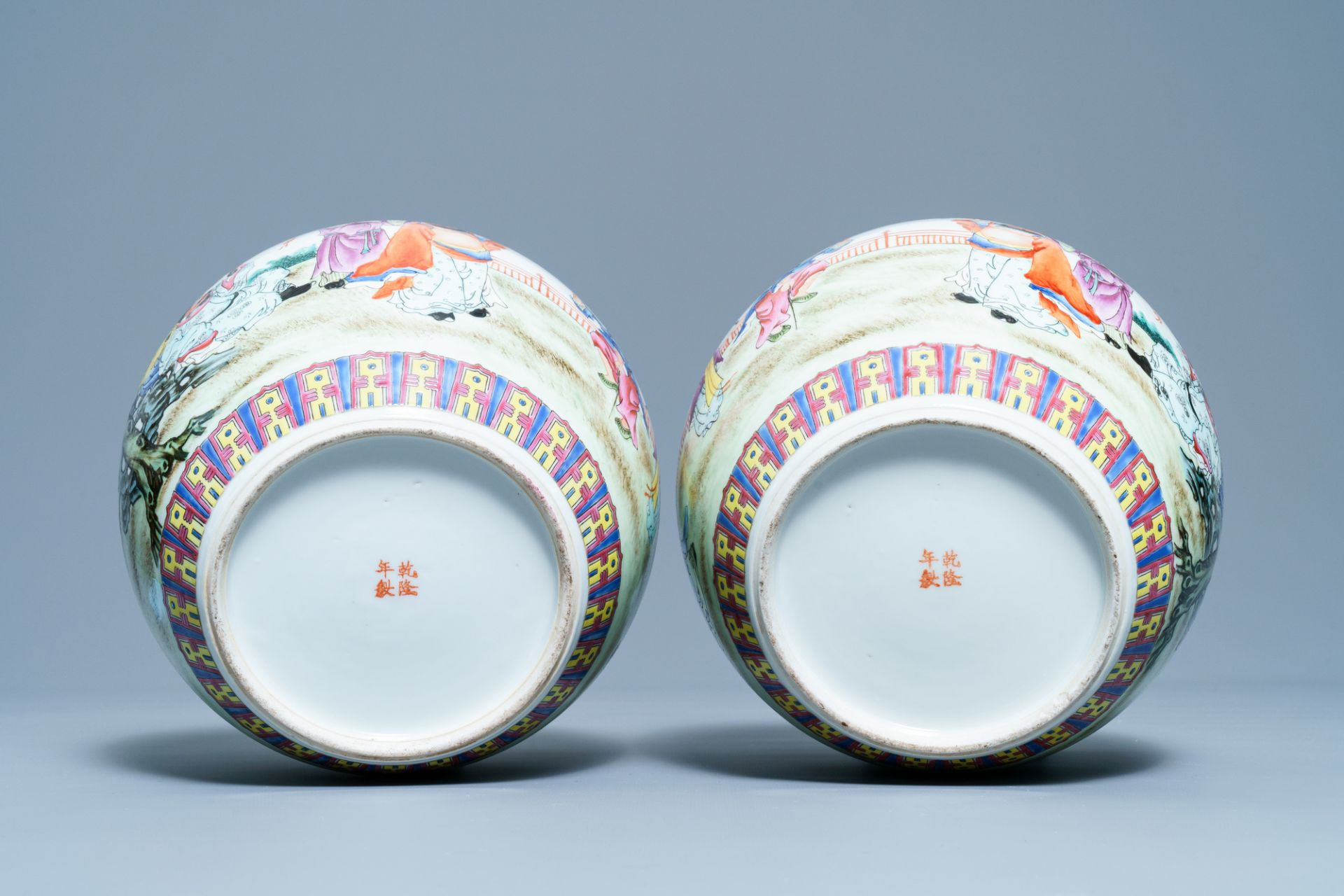 A pair of Chinese famille rose covered jars, Qianlong mark, Republic - Image 6 of 8