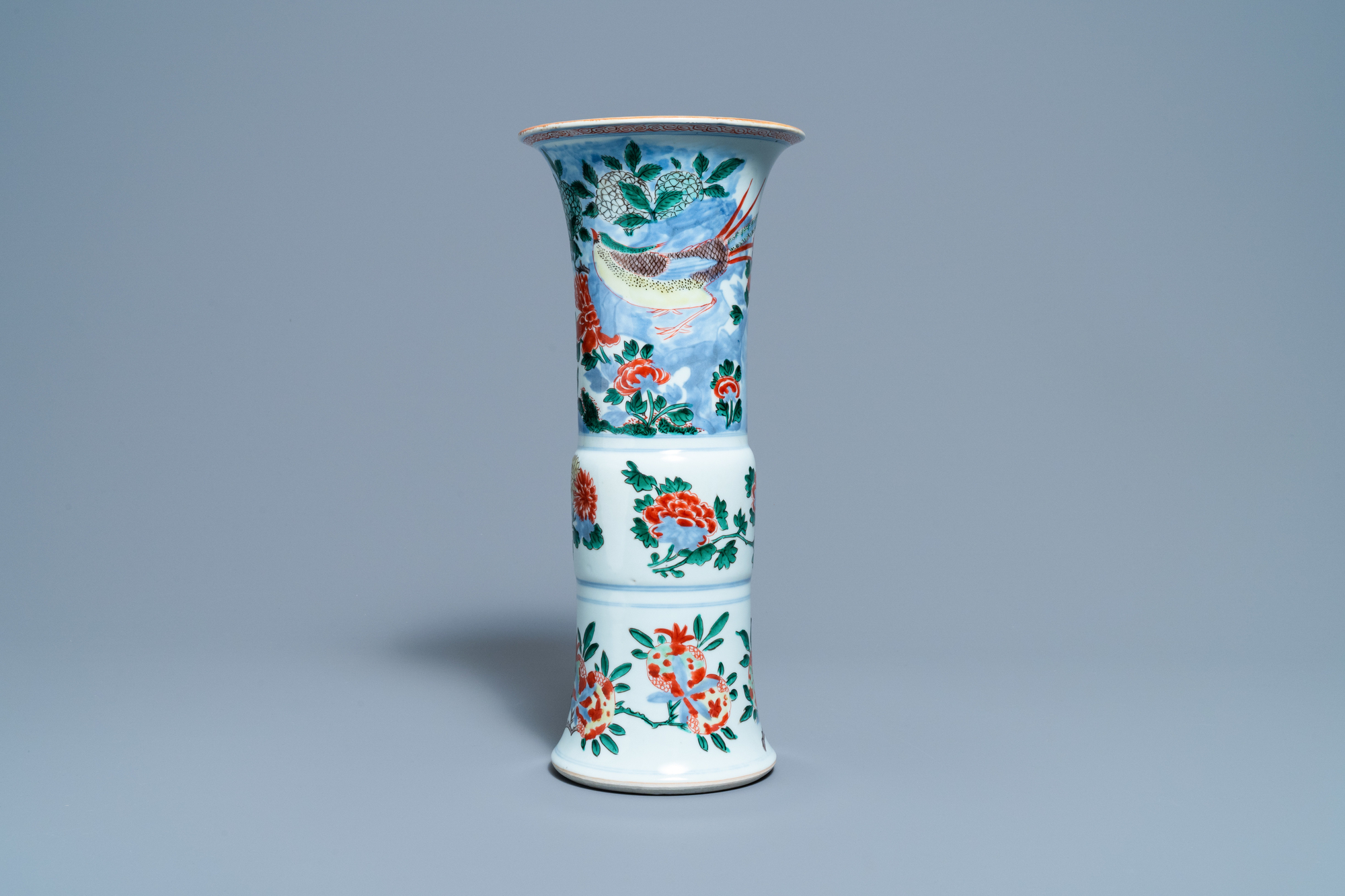 A Chinese wucai 'pheasant' vase, Transitional period
