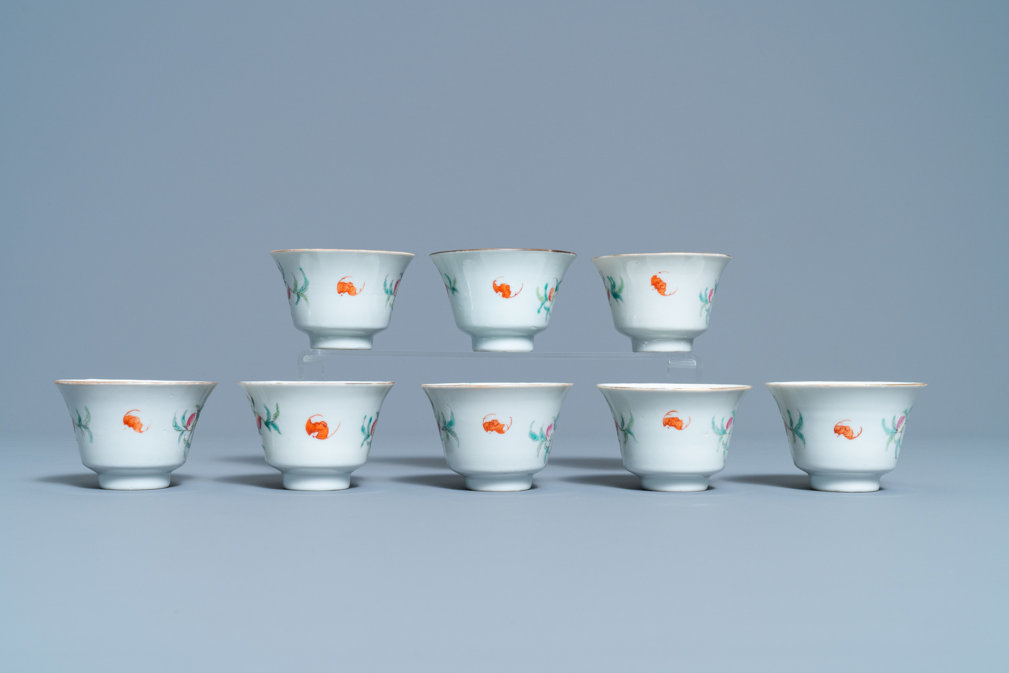 Eight Chinese famille rose 'nine peach' bowls, Hui Tong Zhen Pin mark, 19/20th C. - Image 4 of 7