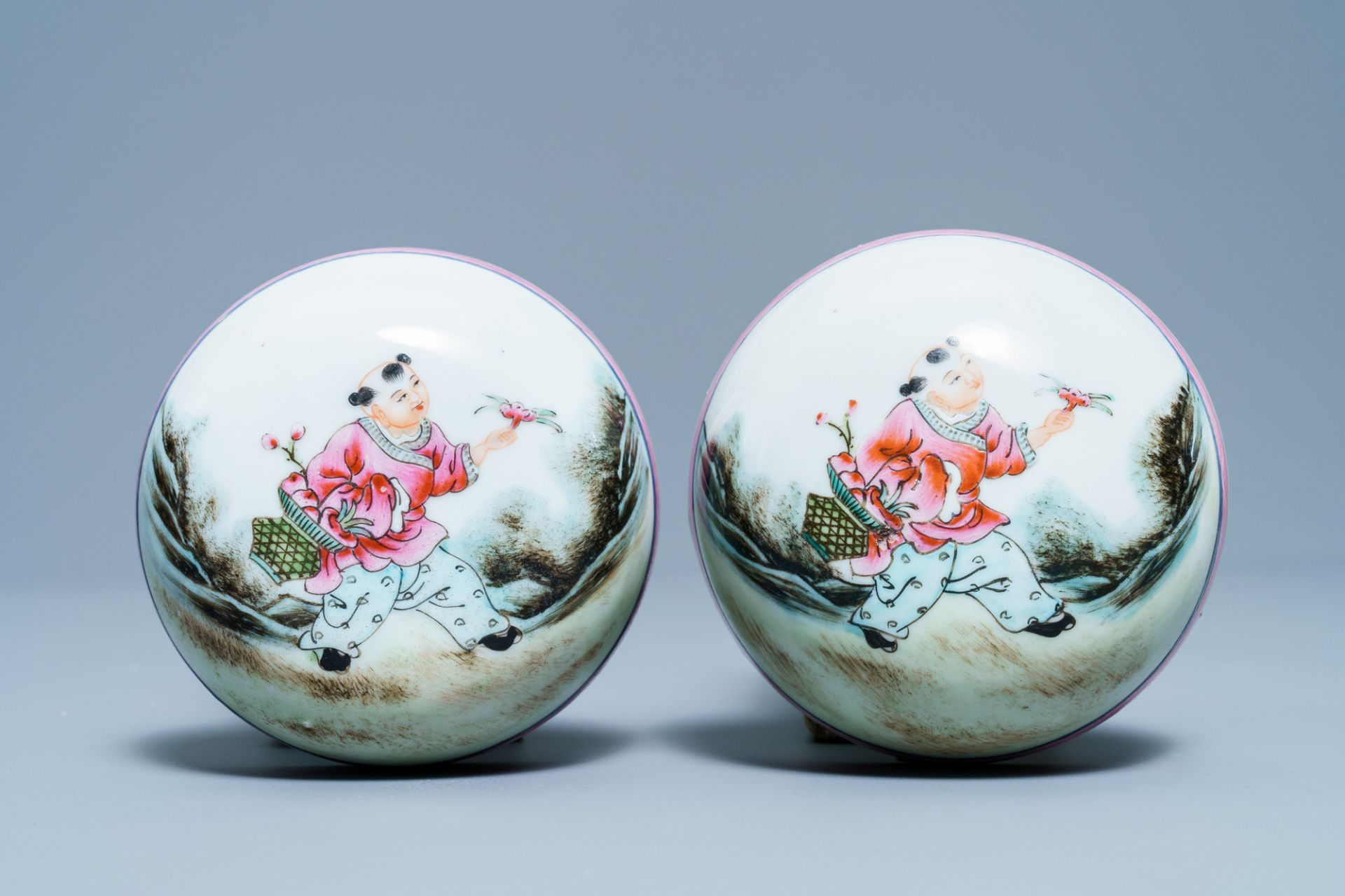 A pair of Chinese famille rose covered jars, Qianlong mark, Republic - Image 7 of 8